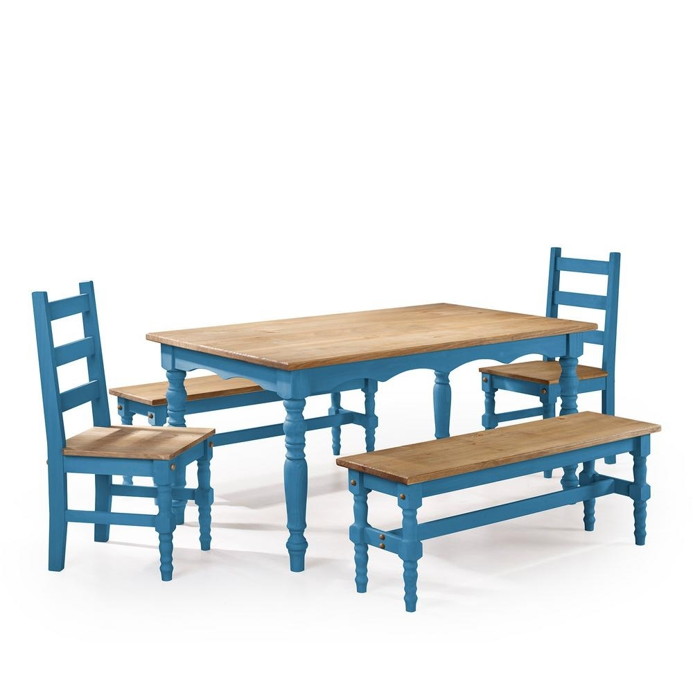 Manhattan Comfort Jay 5 Piece Blue Wash Solid Wood Dining Set With 2 Throughout Most Current Dining Tables And 2 Benches (View 14 of 25)