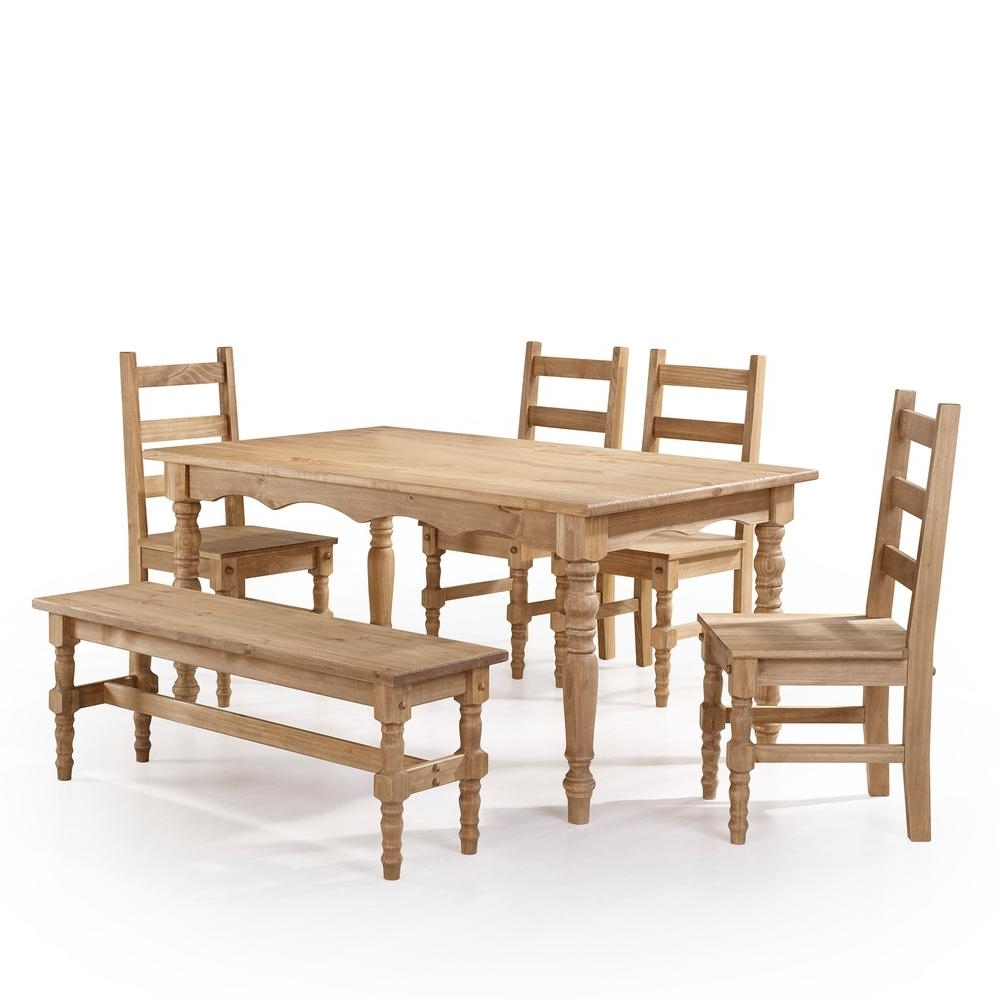 Manhattan Comfort Jay 6 Piece Nature Solid Wood Dining Set With 1 With Well Known 6 Seat Dining Table Sets (View 21 of 25)
