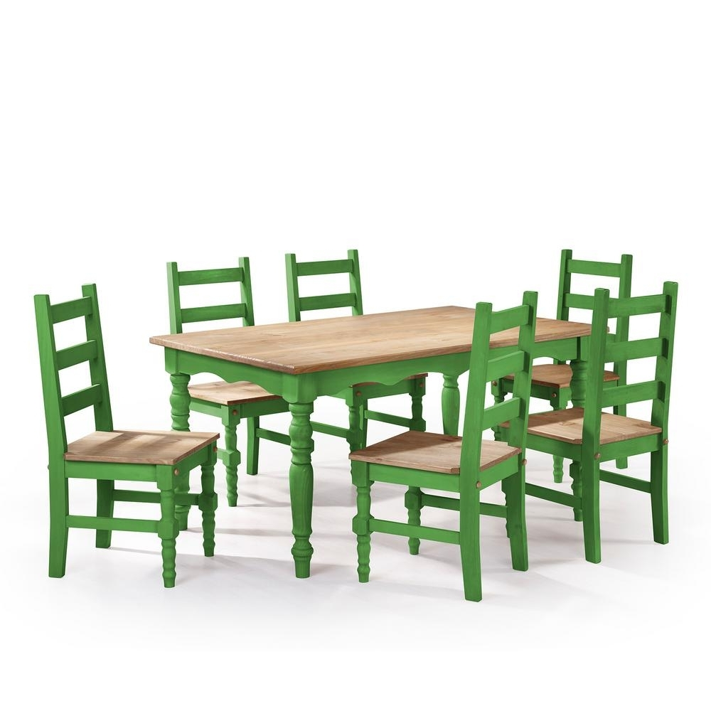 Manhattan Comfort Jay 7 Piece Green Wash Solid Wood Dining Set With Regarding Well Known 6 Seat Dining Table Sets (View 14 of 25)