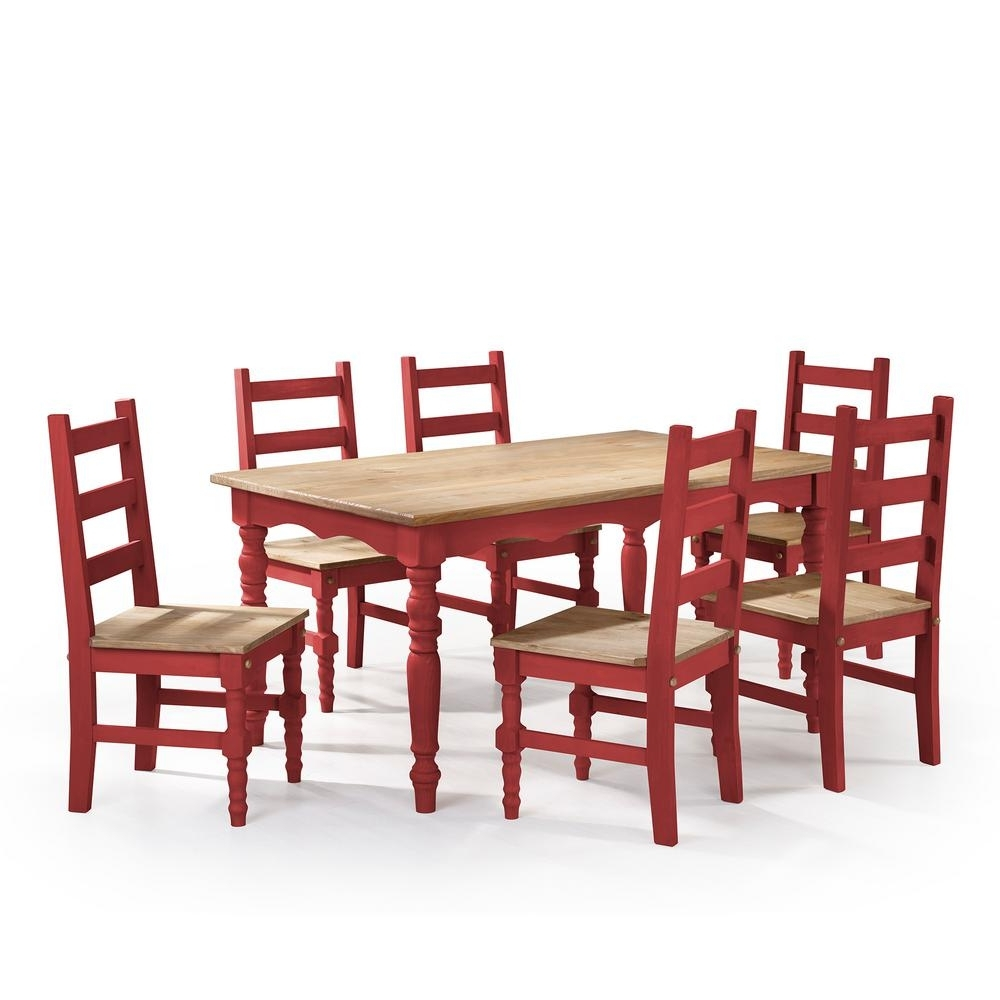Manhattan Comfort Jay 7 Piece Red Wash Solid Wood Dining Set With 6 Intended For Fashionable Dining Tables And 6 Chairs (View 17 of 25)