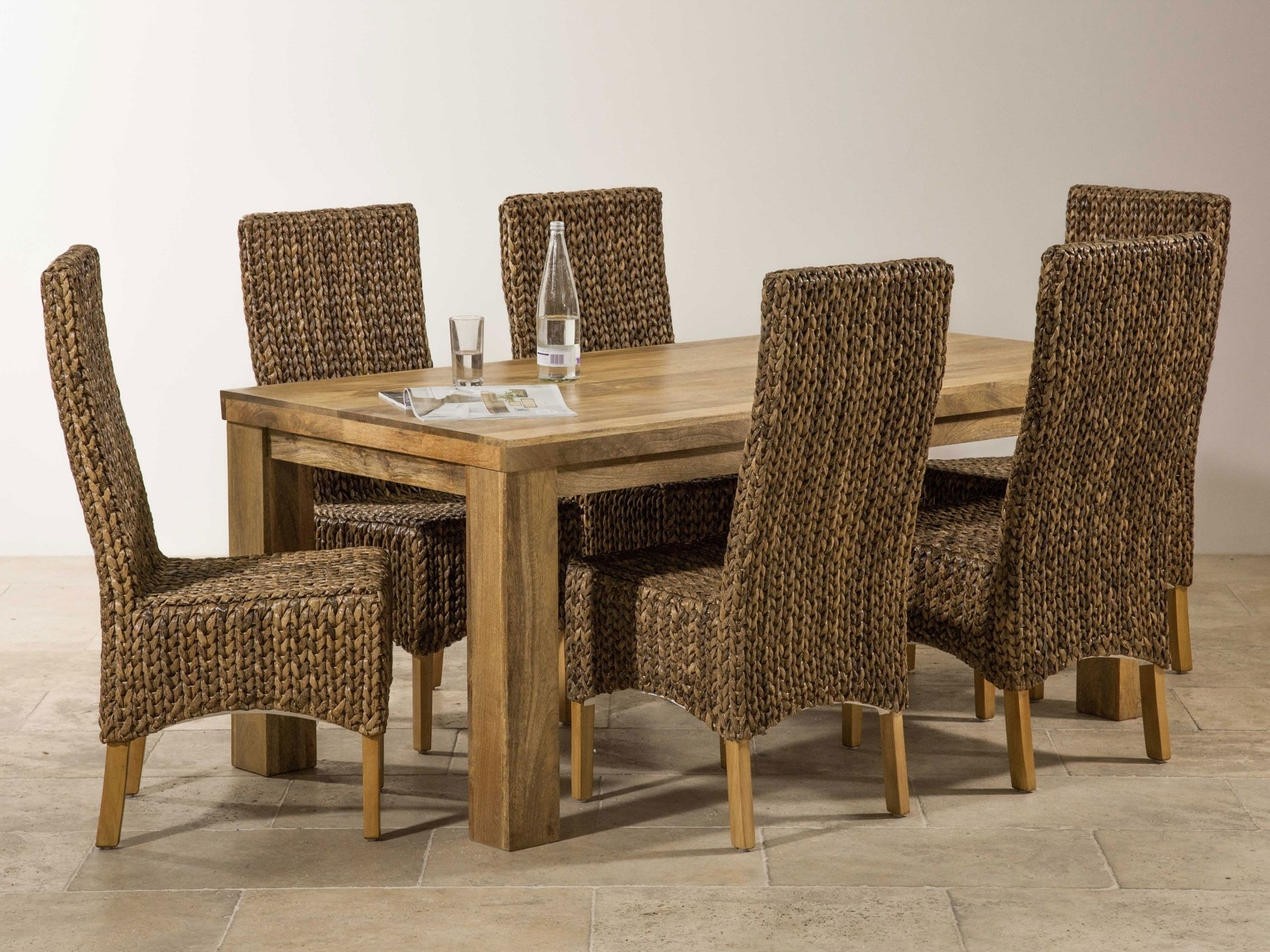 Mantis Light Solid Mango 6Ft X 3Ft Dining Table + 6 Highback Grass With Regard To Most Popular 3Ft Dining Tables (View 15 of 25)