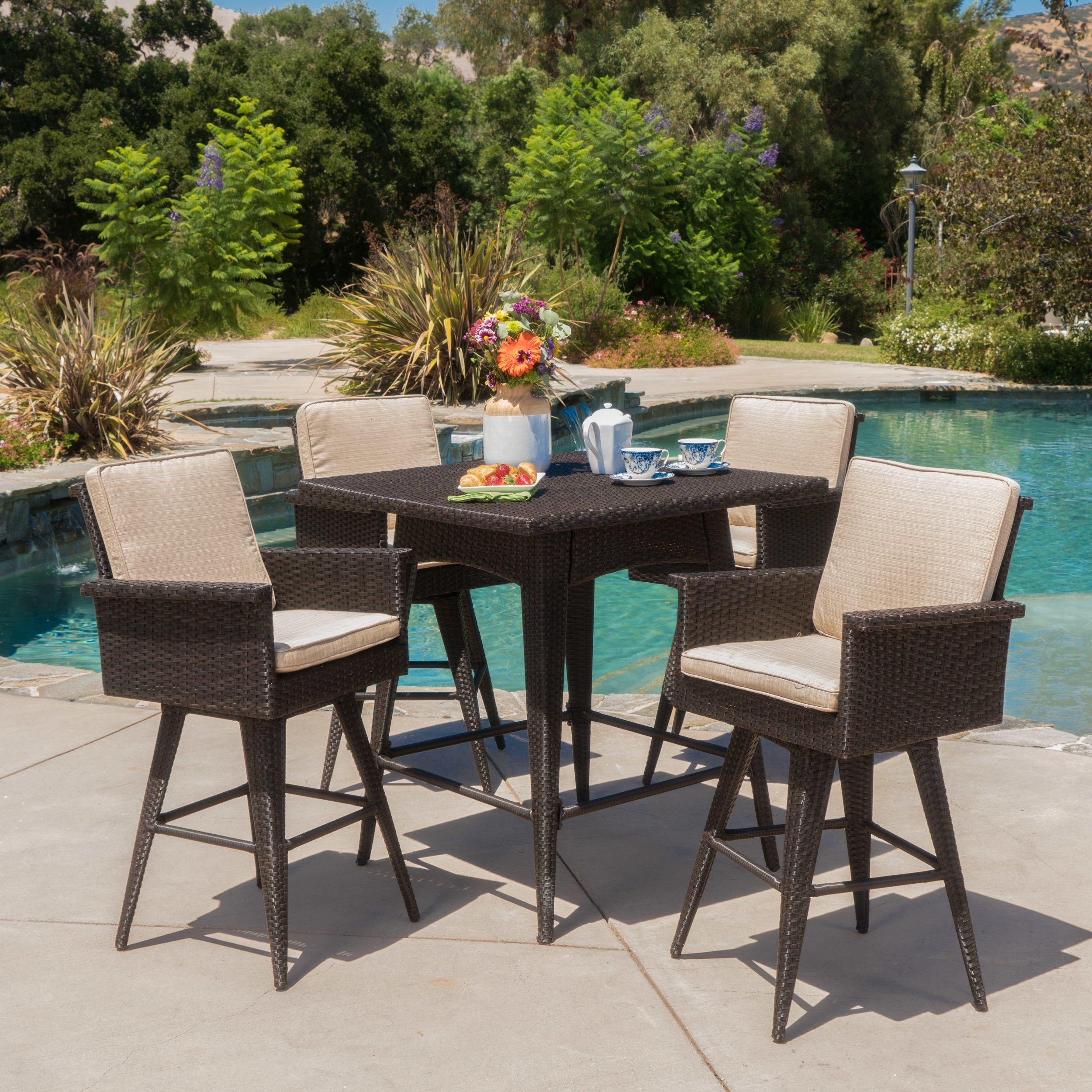 Marbella Dining Tables With Regard To Most Current Shop Marbella Outdoor 5 Piece Square Wicker Dining Set With (View 14 of 25)