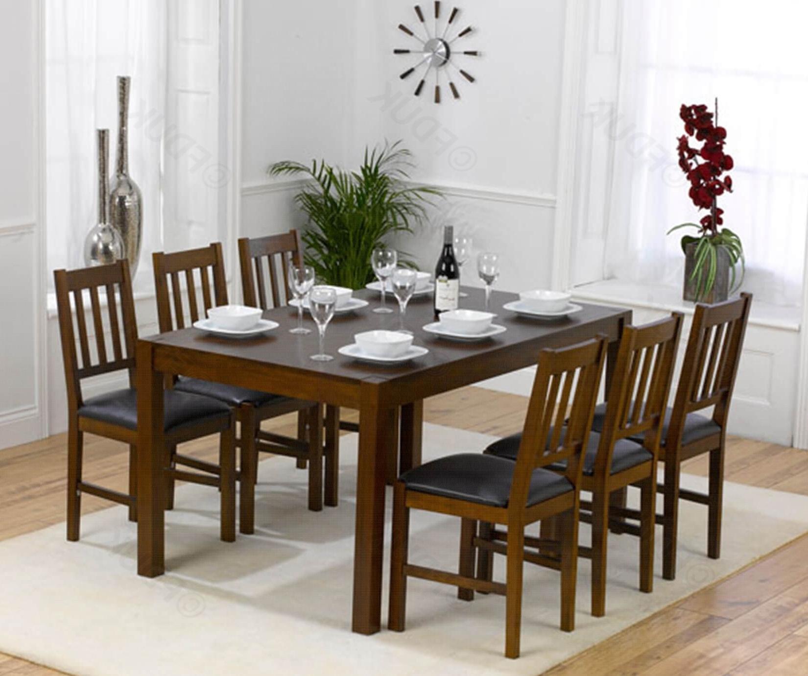 Marbella Solid Dark Oak Dining Table With  (View 14 of 25)