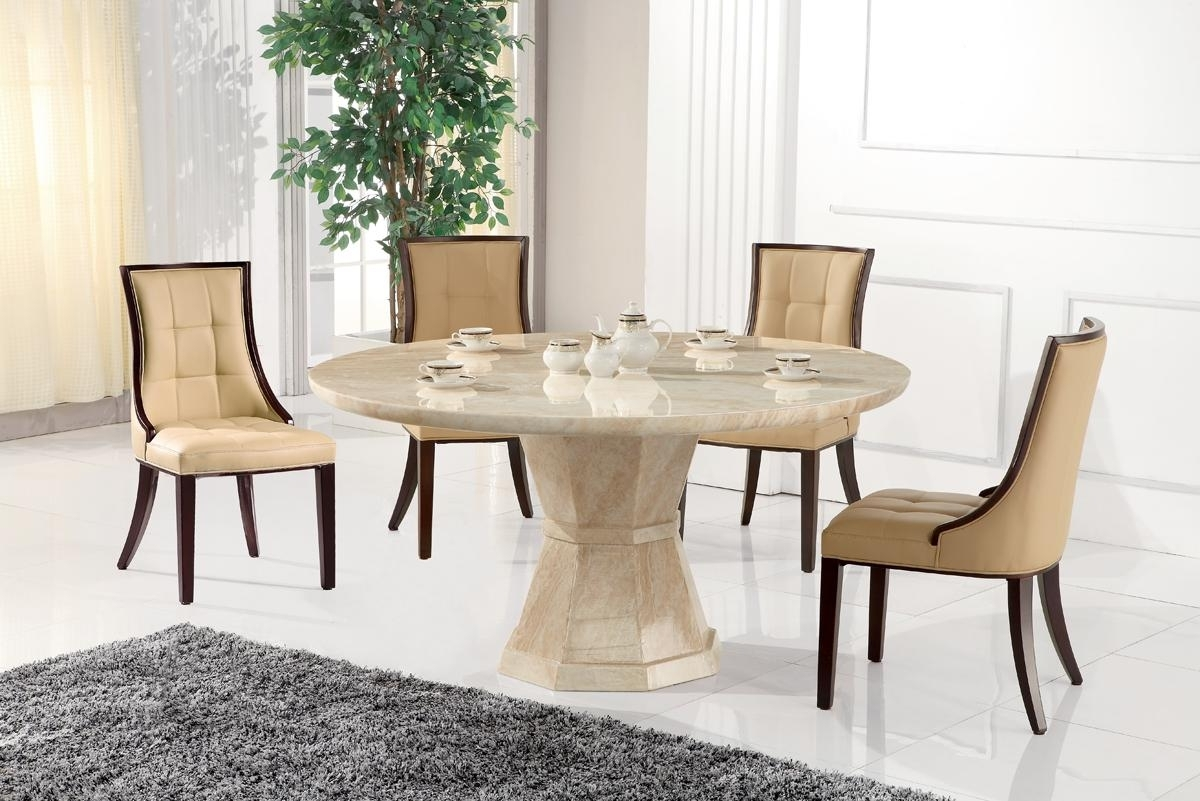 Marble Dining Chairs Intended For 2017 Marcello Round 130Cm Dining Set & 4 Marcello Chairs – Dublin (View 12 of 25)