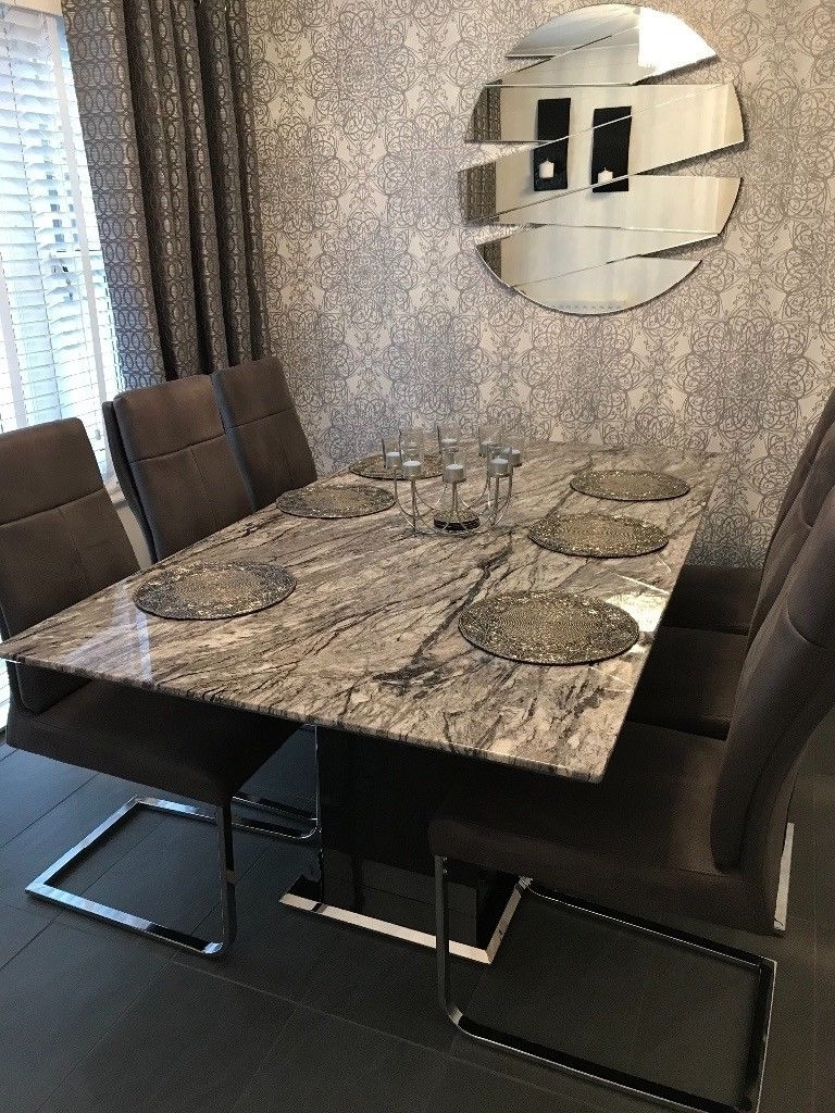 Marble Dining Chairs Intended For Famous Donatella Raphael Grey Marble Dining Table & 6 Dining Chairs (Gallery 13 of 25)