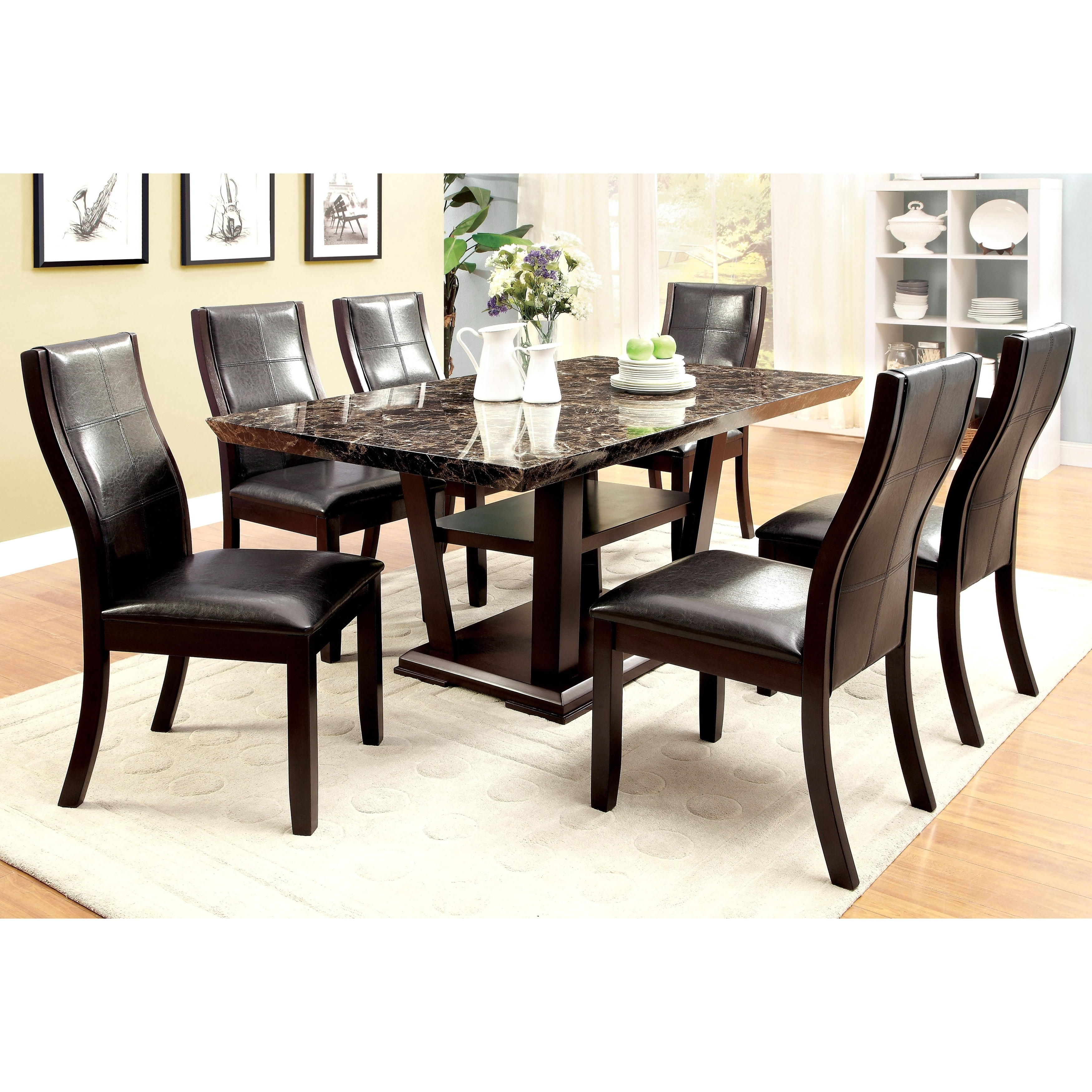 Marble Dining Chairs Intended For Most Recently Released Shop Furniture Of America Elivia Modern 7 Piece Faux Marble Dining (View 18 of 25)