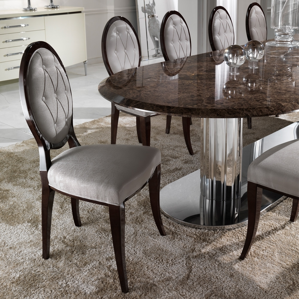 Marble Dining Chairs With Popular Large Italian Marble Oval Dining Table Set (View 4 of 25)