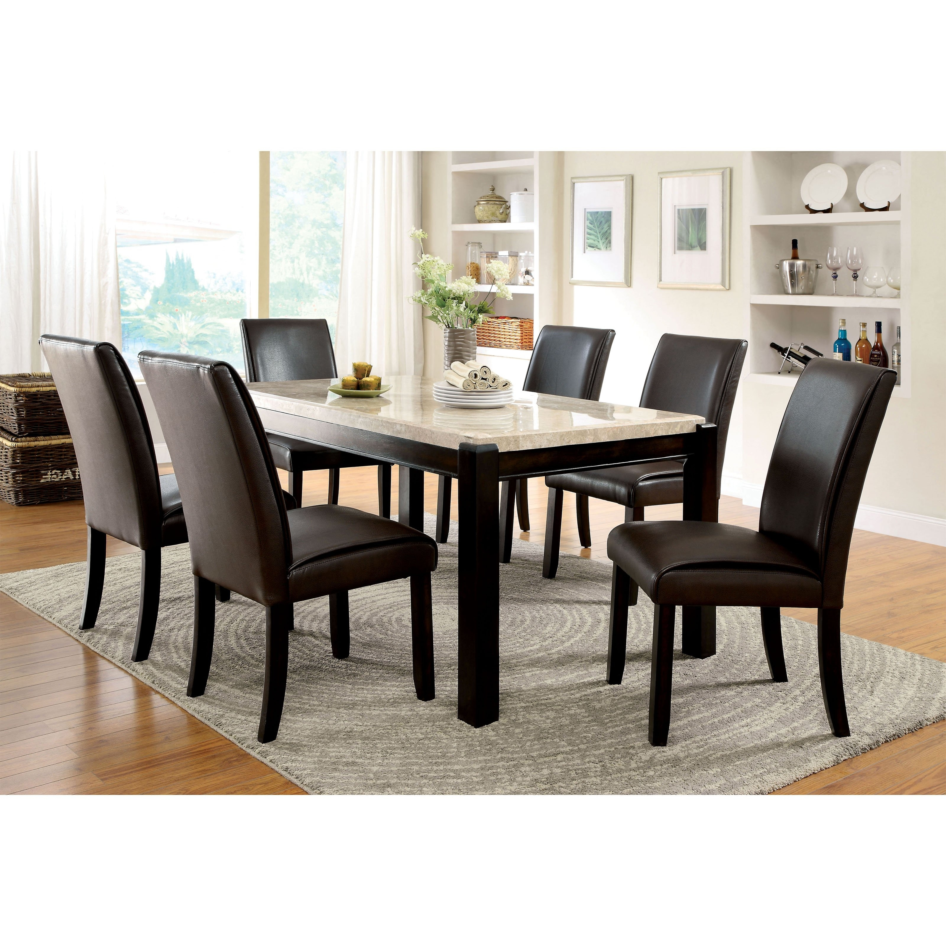 Marble Dining Tables Sets In Trendy Furniture Of America Friedrich Modern 7 Piece Marble Dining Table (View 14 of 25)