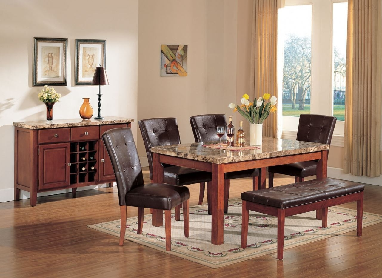 Marble Dining Tables Sets Pertaining To Best And Newest Acme Bologna 6 Pc Marble Top Rectangular Dining Table Set In Brown (View 15 of 25)