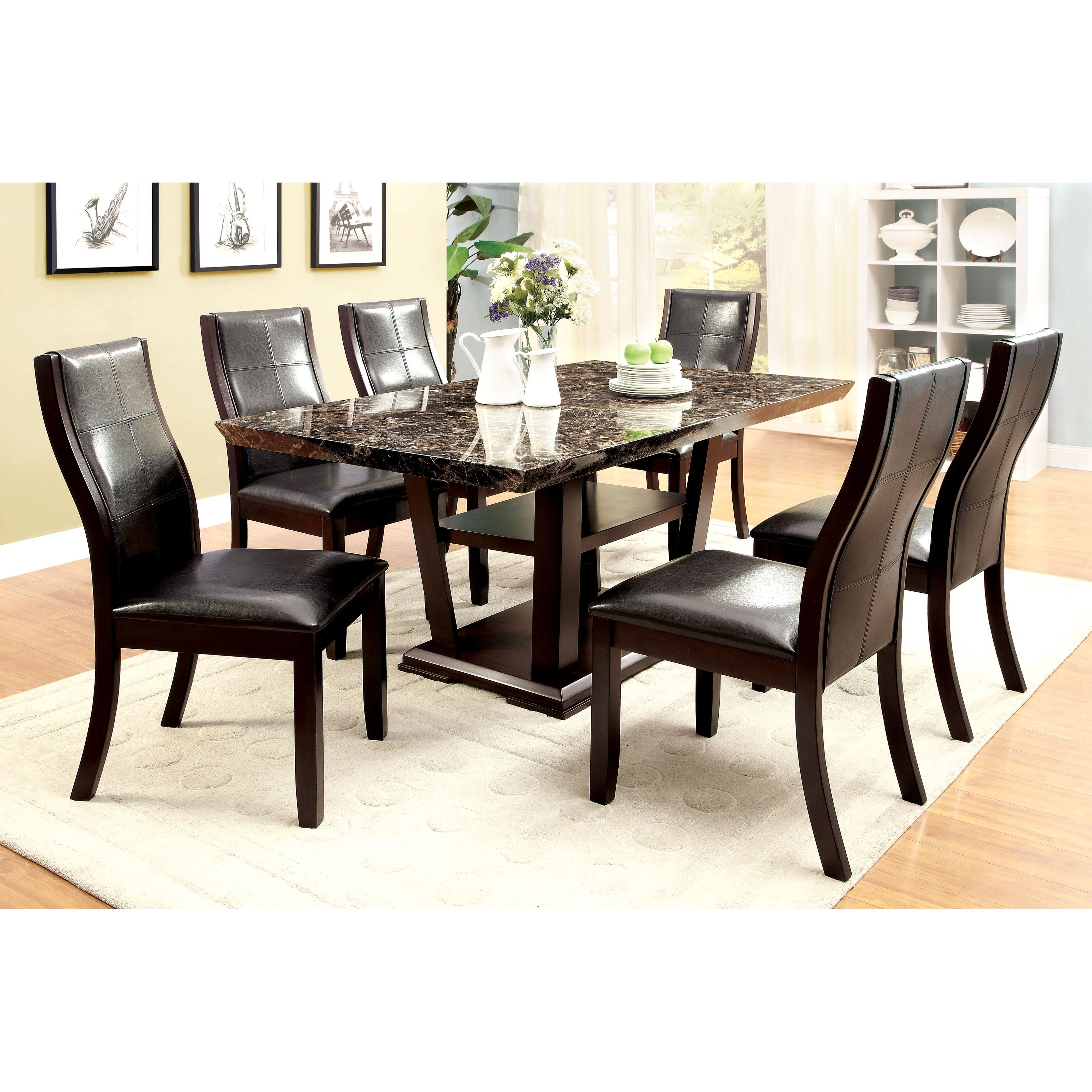 Marble Dining Tables Sets Pertaining To Fashionable Furniture Of America Newrock 7 Piece Faux Marble Dining Table Set (View 16 of 25)