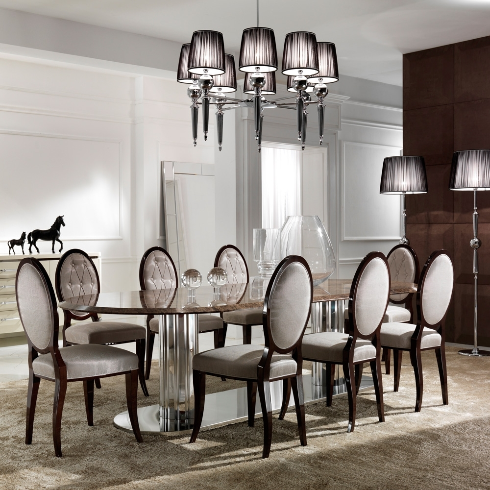Marble Effect Dining Tables And Chairs Inside Well Liked Large Italian Marble Oval Dining Table Set (Gallery 10 of 25)