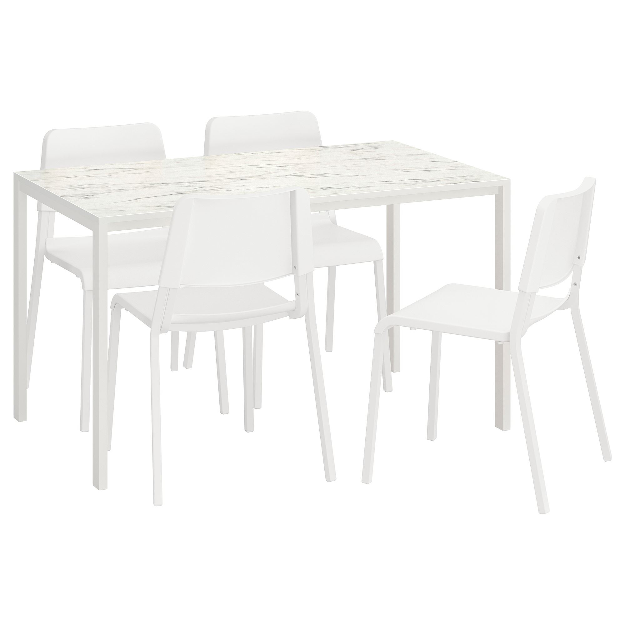 Marble Effect Dining Tables And Chairs Pertaining To Most Popular Melltorp/teodores Dining Table And Chairs White Marble Effect 125X75 (Gallery 22 of 25)
