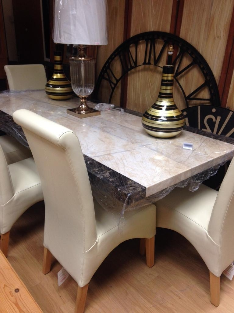Marble Effect Dining Tables And Chairs Throughout Recent Crema And Mocha Marble Effect Dining Table And Chairs (Gallery 6 of 25)