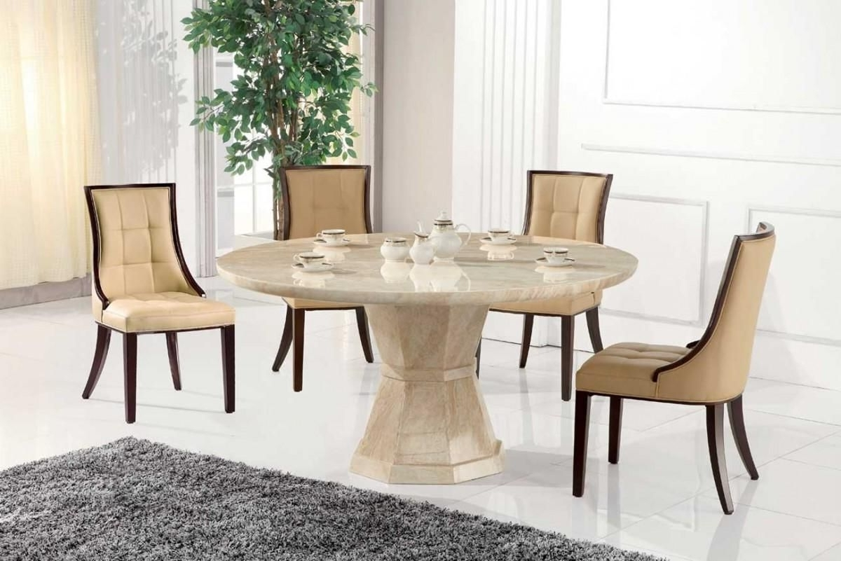 Marcello Marble Large Round Dining Table With 6 Chairs, Round Marble For Preferred Marble Dining Tables Sets (View 17 of 25)