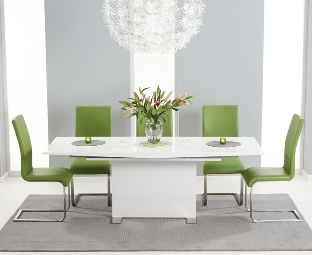 Marila 150Cm White High Gloss Extending Dining Table With 6 Malibu Intended For Latest Green Dining Tables (View 15 of 25)
