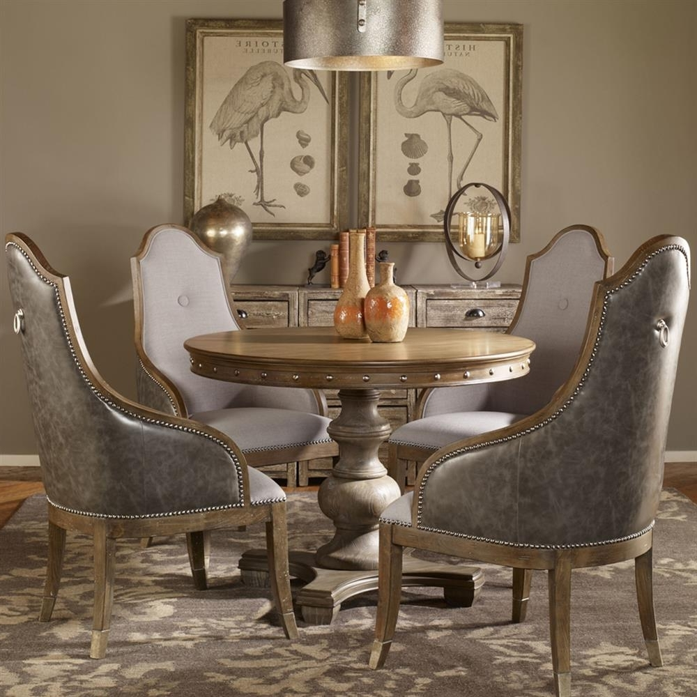 Marius French Country Round Wood Silver Stud Dining Table (View 19 of 25)