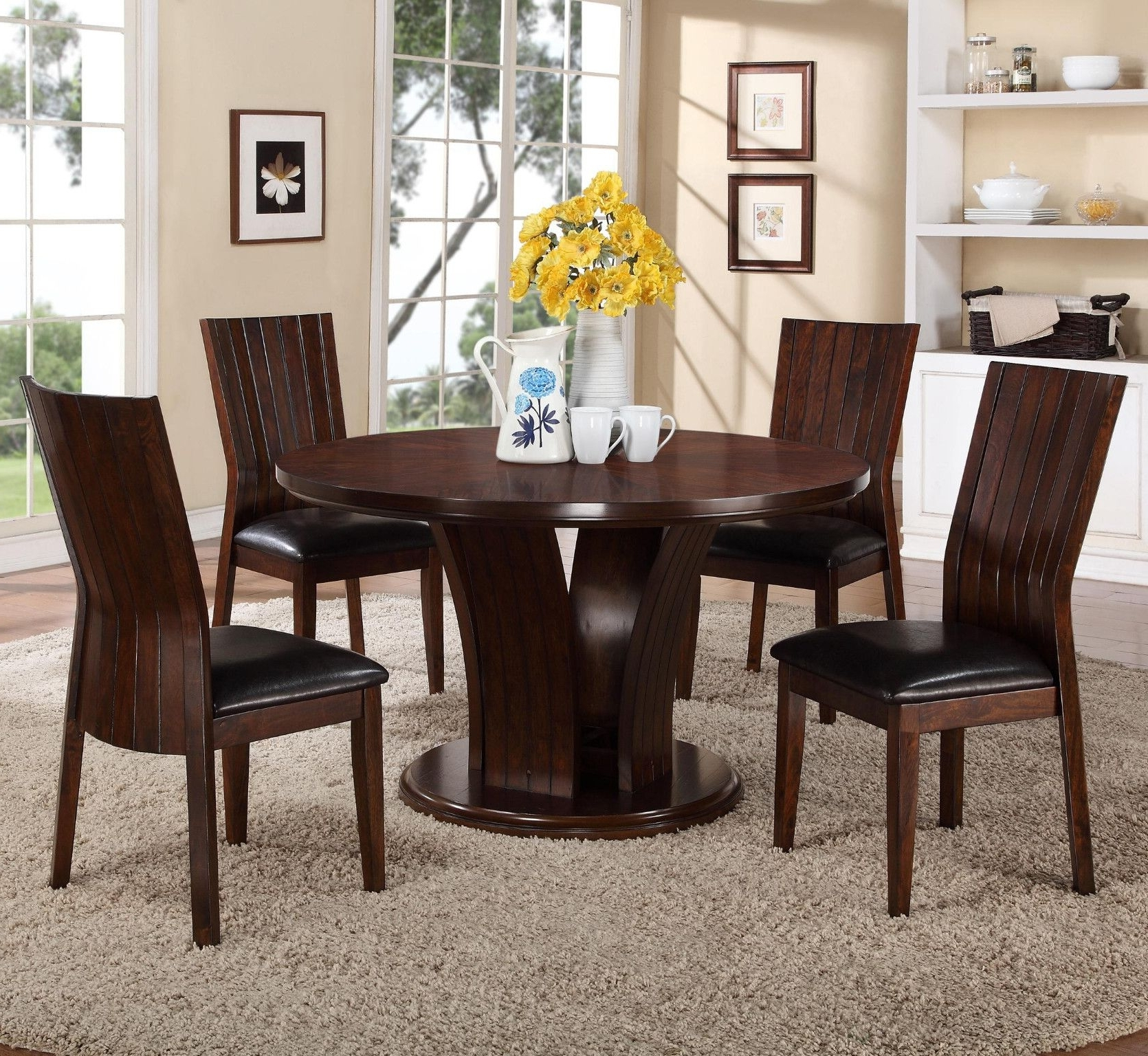 Market 7 Piece Dining Sets With Side Chairs Regarding Fashionable Daria Espresso 5 Piece Dining Set Starburst Veneer Top Table And  (View 12 of 25)