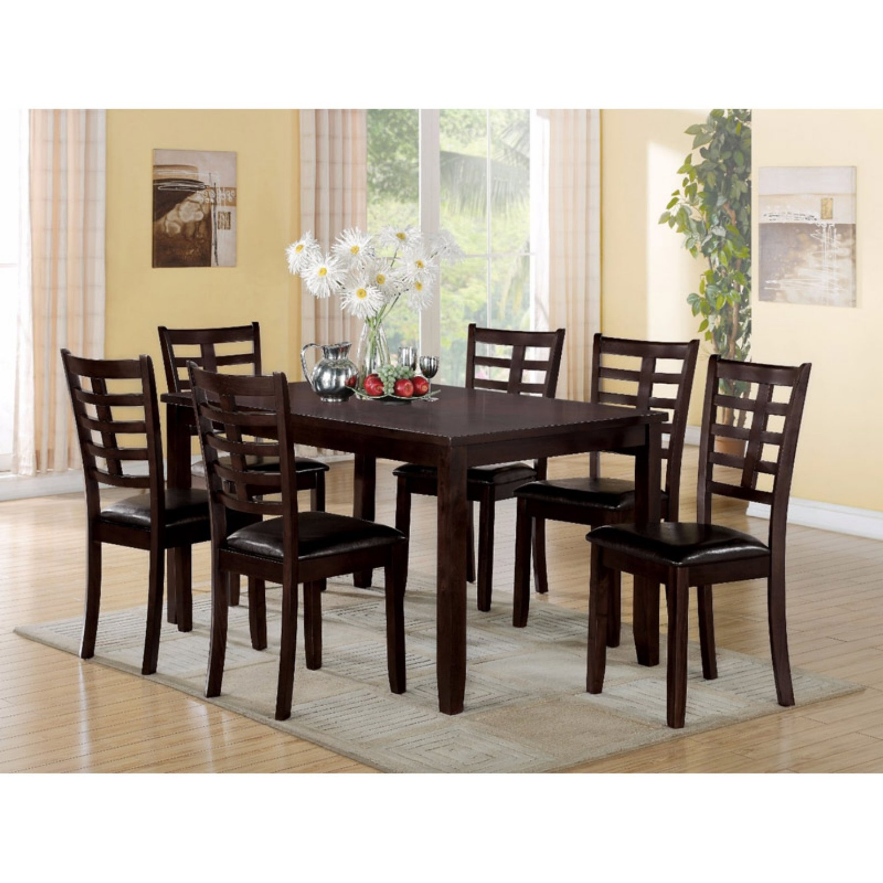Market 7 Piece Dining Sets With Side Chairs Within Preferred Benzara Wooden 7 Piece Rectangular Dining Table Set In (View 12 of 25)