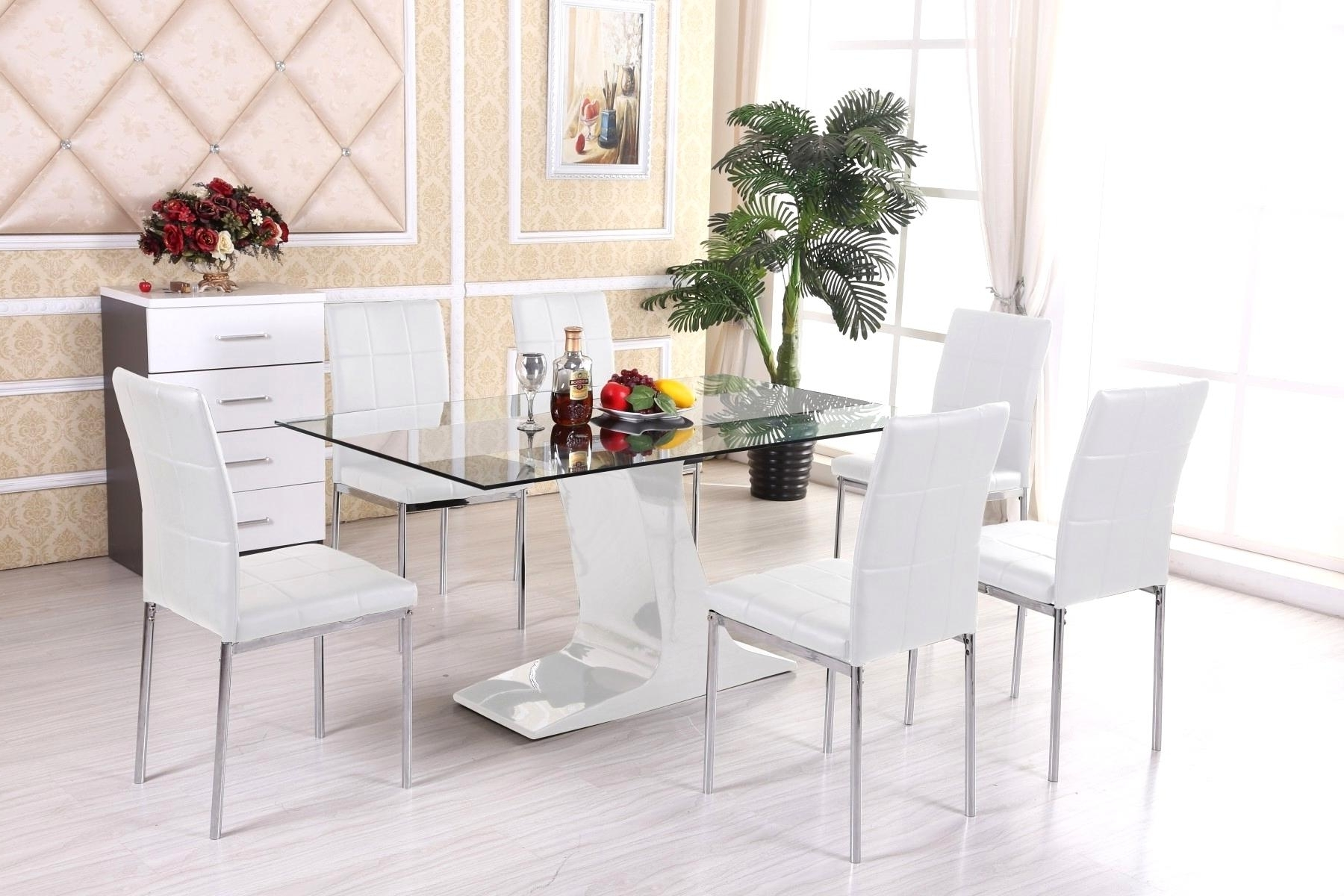 Marvelous Dining Room Sets White Glass Ining Table And Chairs Modern In Popular Glass Dining Tables Sets (View 14 of 25)