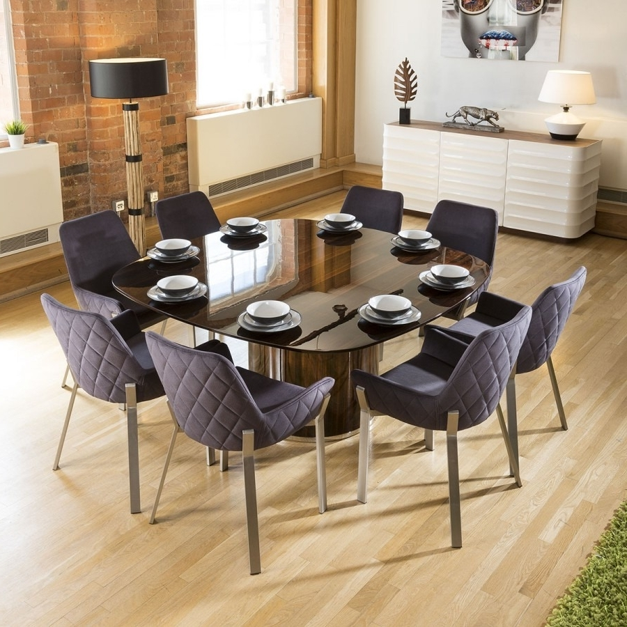 Massive Square Eucalyptus Dining Table + 8 Dark Grey Carver Chairs Intended For Latest Dining Tables 8 Chairs Set (Gallery 25 of 25)