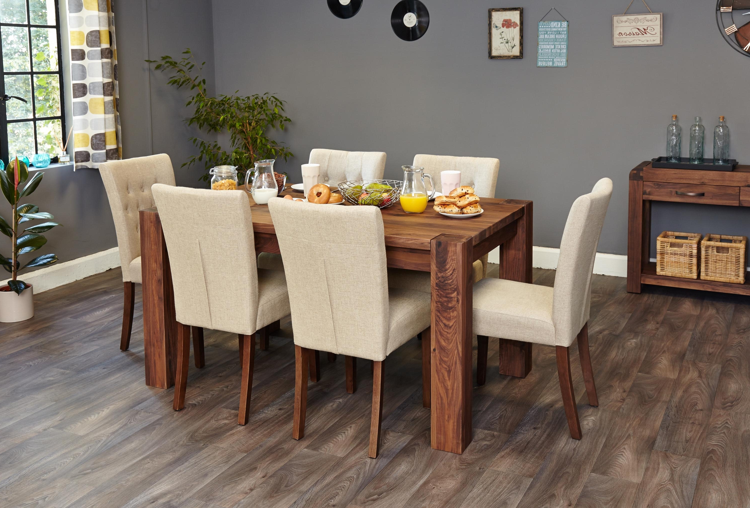 Mayan Walnut 6 Seater Dining Table Set (Full Back) (Socdr04B Cdr03C) Inside Preferred Walnut Dining Table Sets (View 7 of 25)