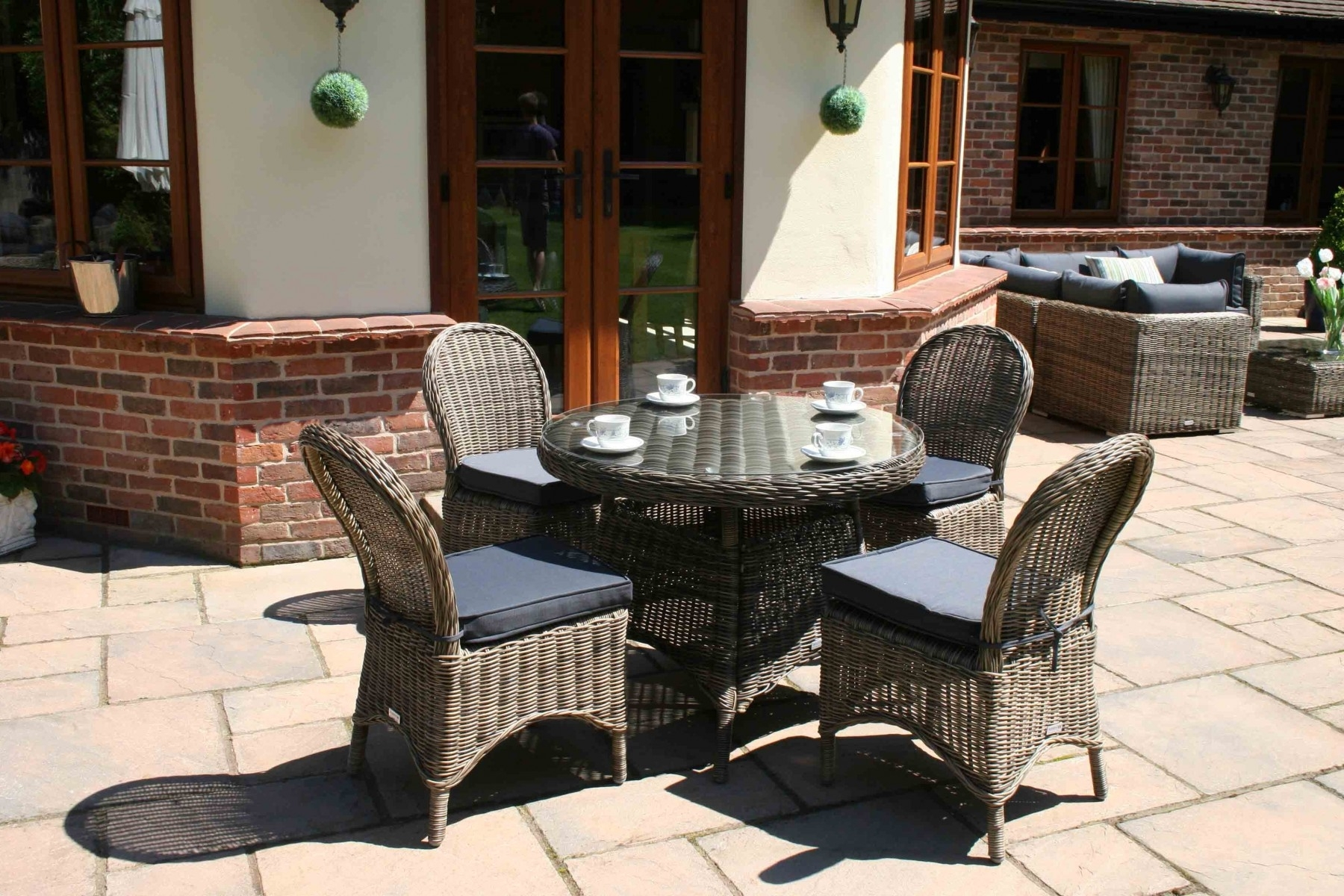 Mayfair Dining Tables In Latest 100Cm Mayfair Round Dining Table With 4 Dining Chairs – Garden (View 9 of 25)