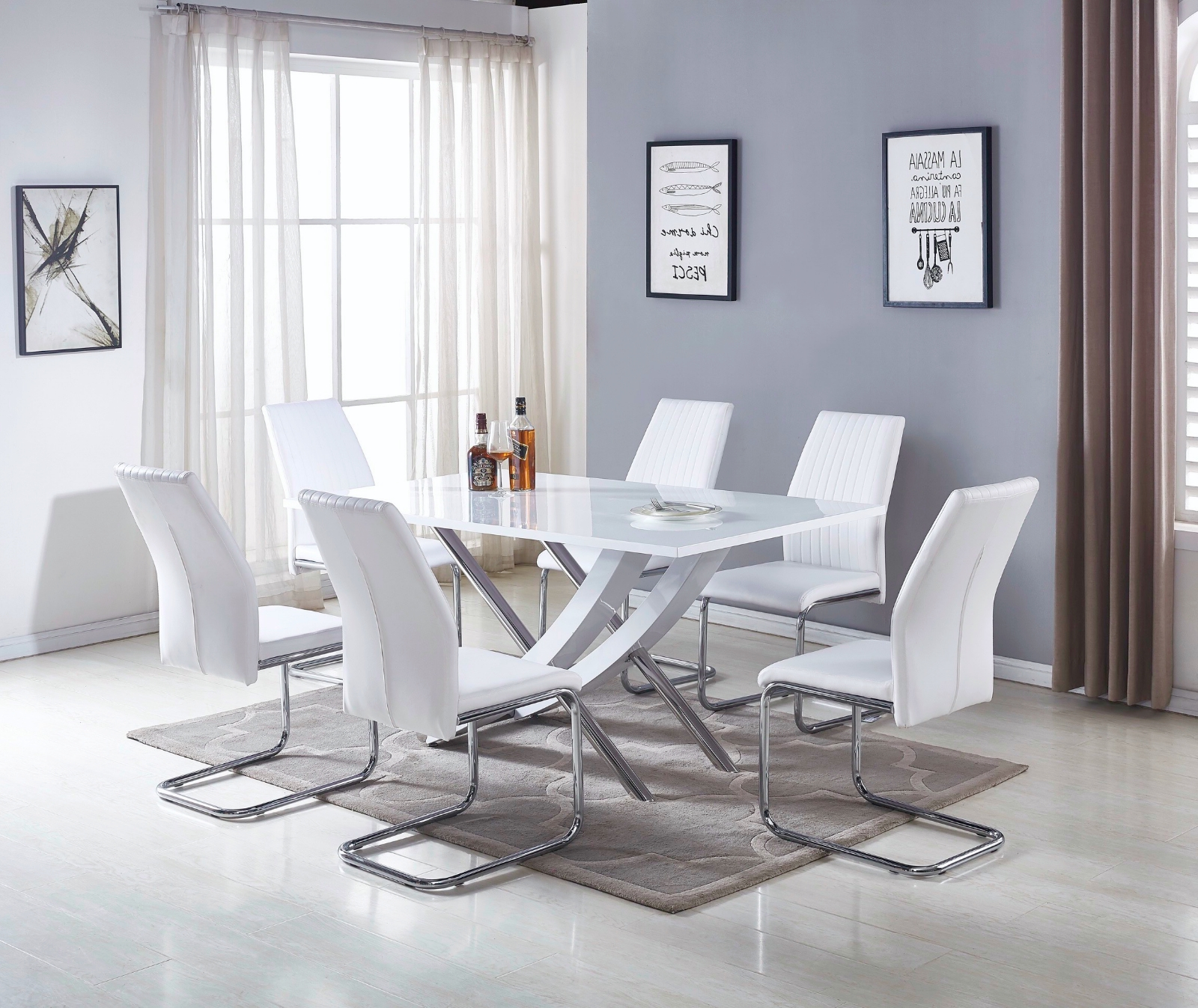 Mayfair White Grey High Gloss Chrome Dining Table Set And 6 Leather Pertaining To Recent Mayfair Dining Tables (View 18 of 25)