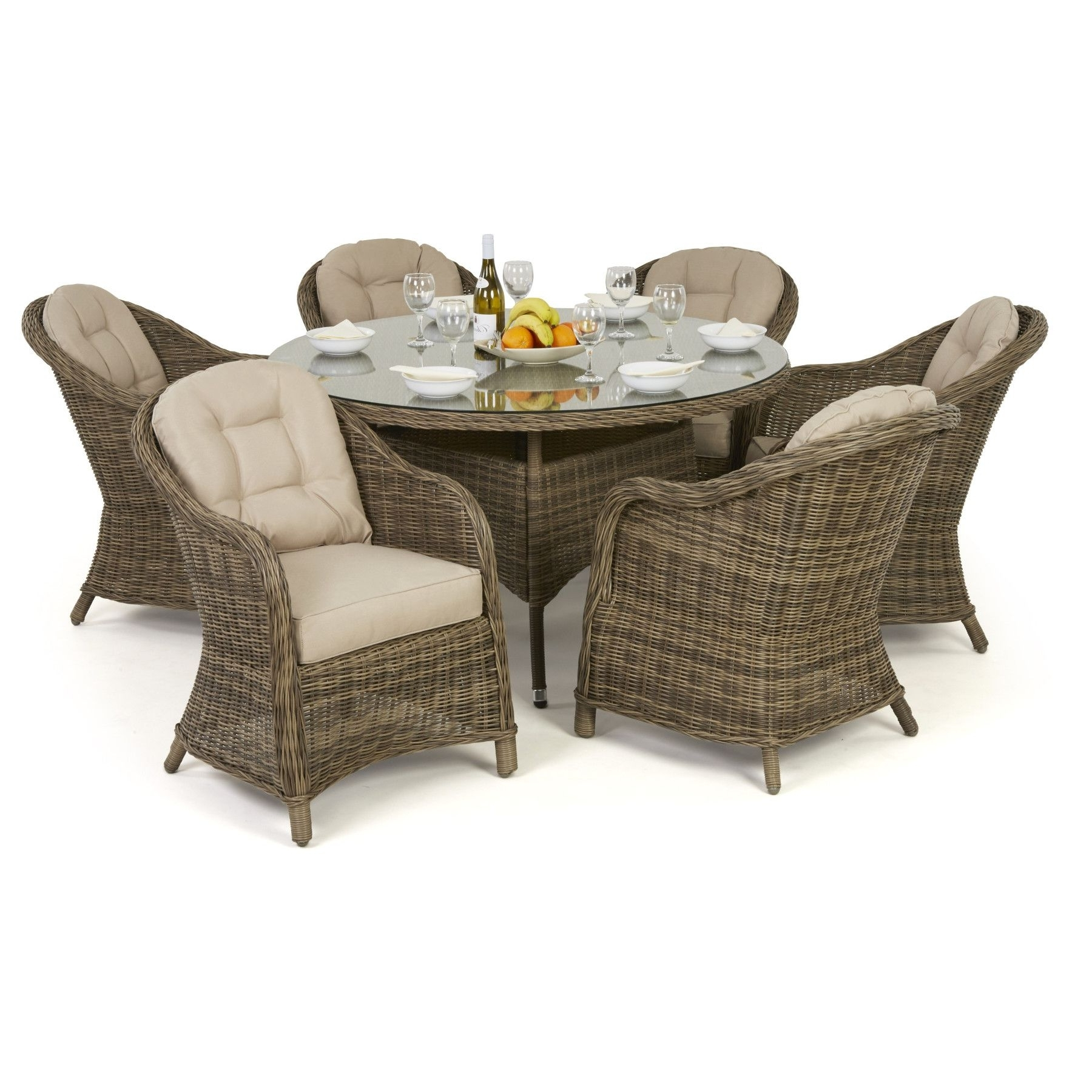 Maze Rattan Winchester Round Dining Table With 6 Round Chairs Garden In Well Known 6 Seat Round Dining Tables (View 18 of 25)