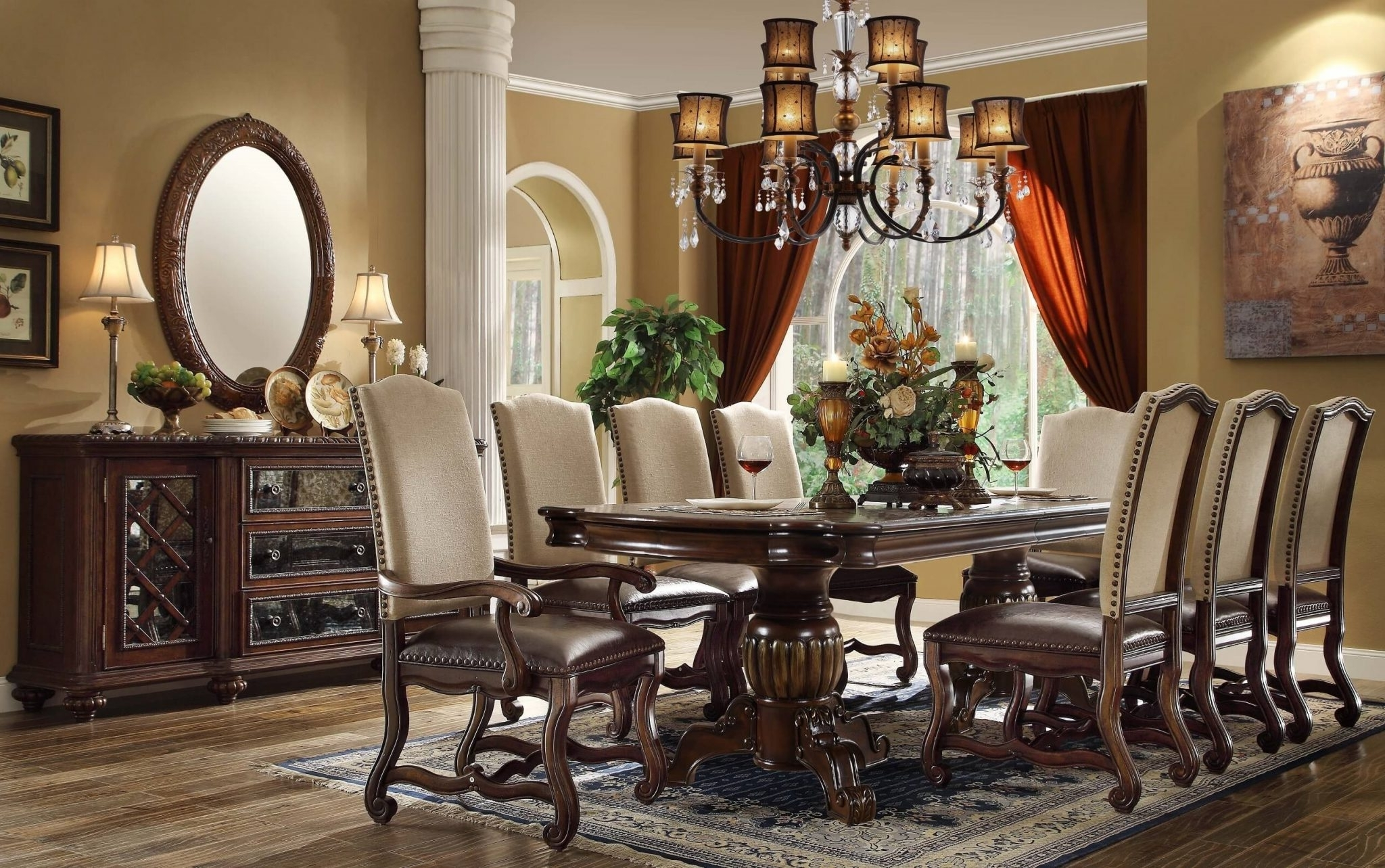 Mcferran 12 Pc D9800 Monaco Extendable Dining Set – Usa Warehouse Within Well Known Monaco Dining Tables (View 8 of 25)