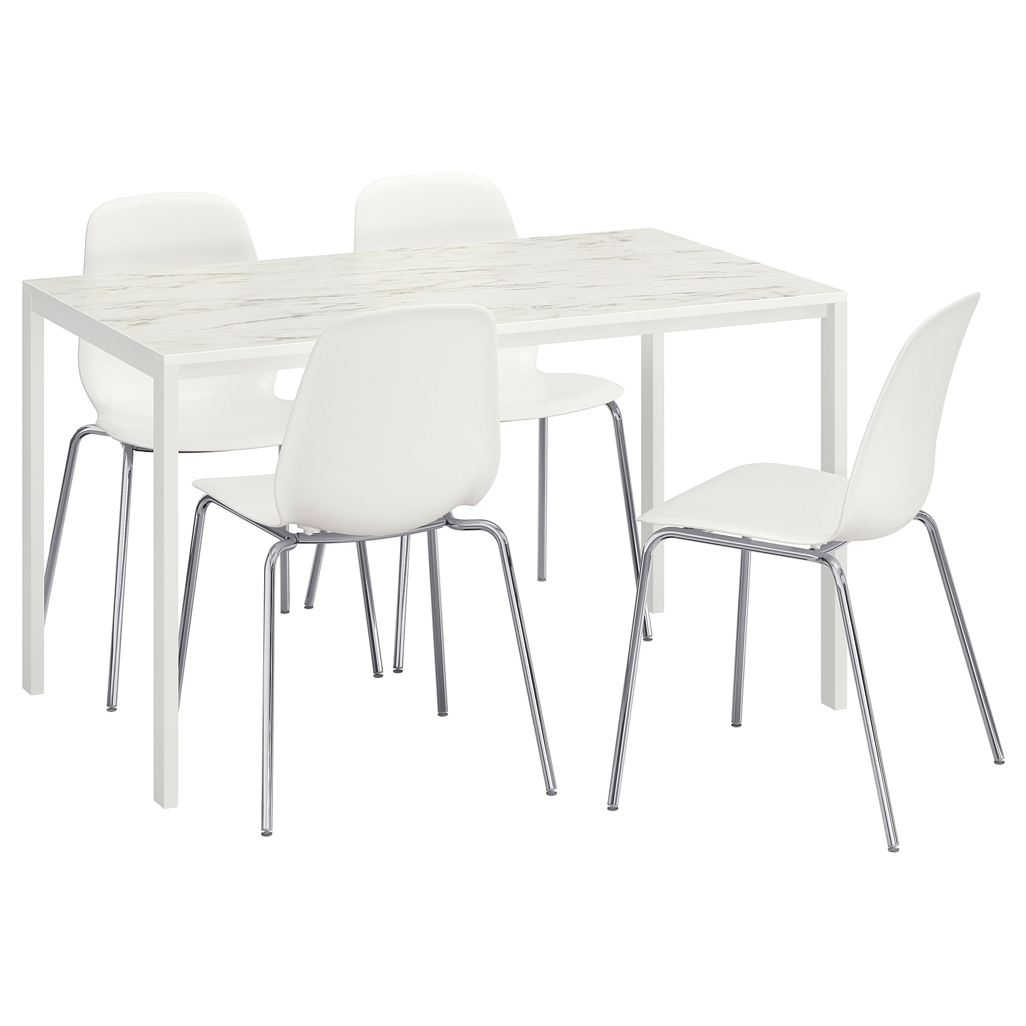 Melltorp/leifarne Table And 4 Chairs White Marble Effect/chrome Inside Most Popular Marble Effect Dining Tables And Chairs (View 19 of 25)