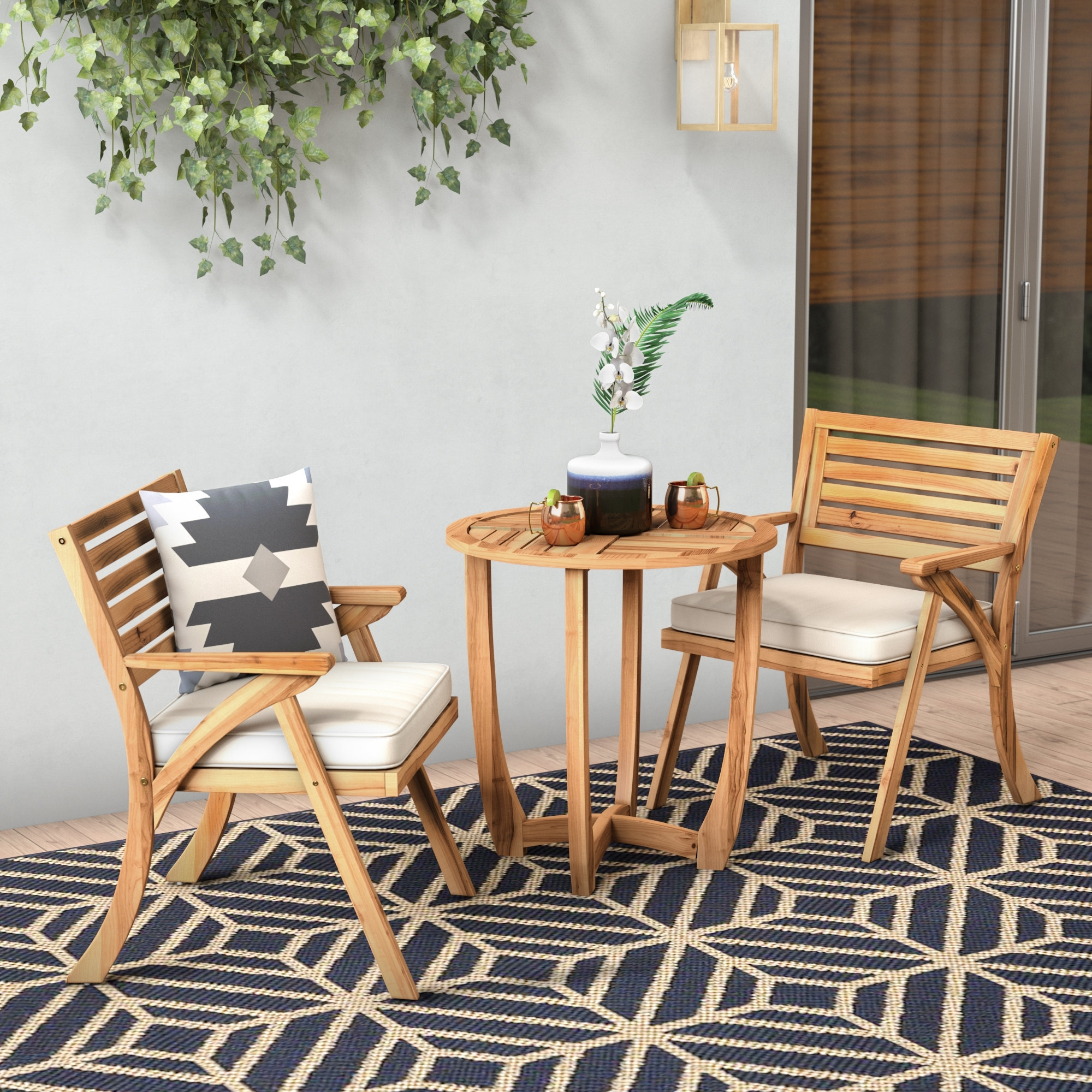 Mercury Row 3 Piece Bistro Set With Cushions & Reviews (View 16 of 25)