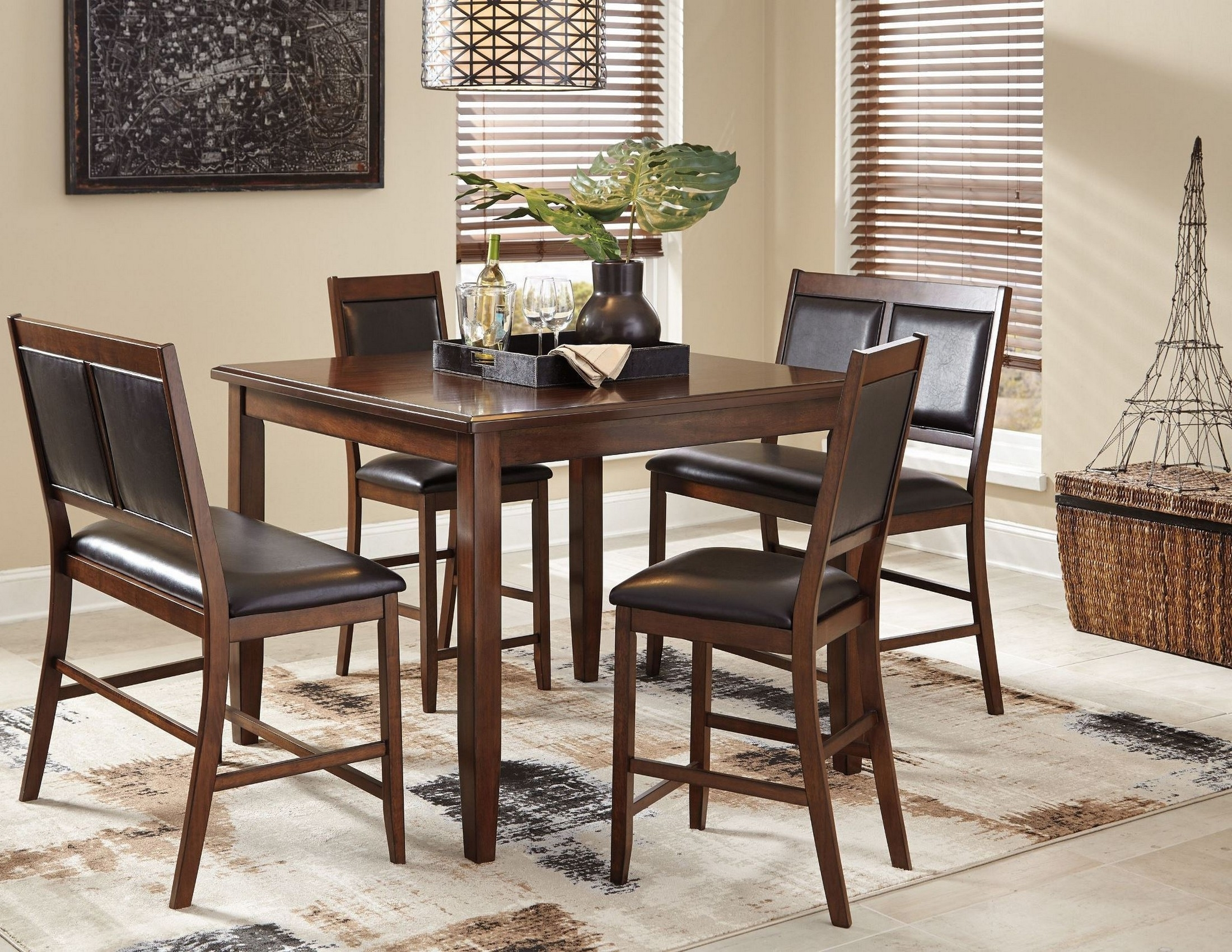 Meredy Brown 5 Piece Counter Height Dining Room Set From Ashley Within Most Recently Released Hyland 5 Piece Counter Sets With Bench (View 14 of 25)