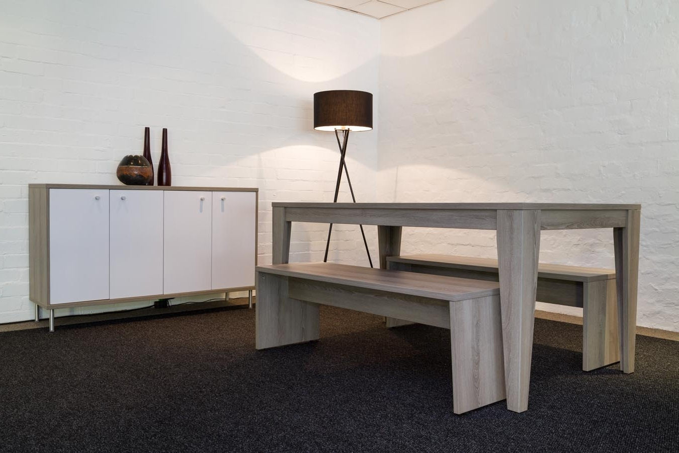 Metro Dining Table And Form Bench And Metro Server Unit – Bidoffice In Current Metro Dining Tables (View 12 of 25)