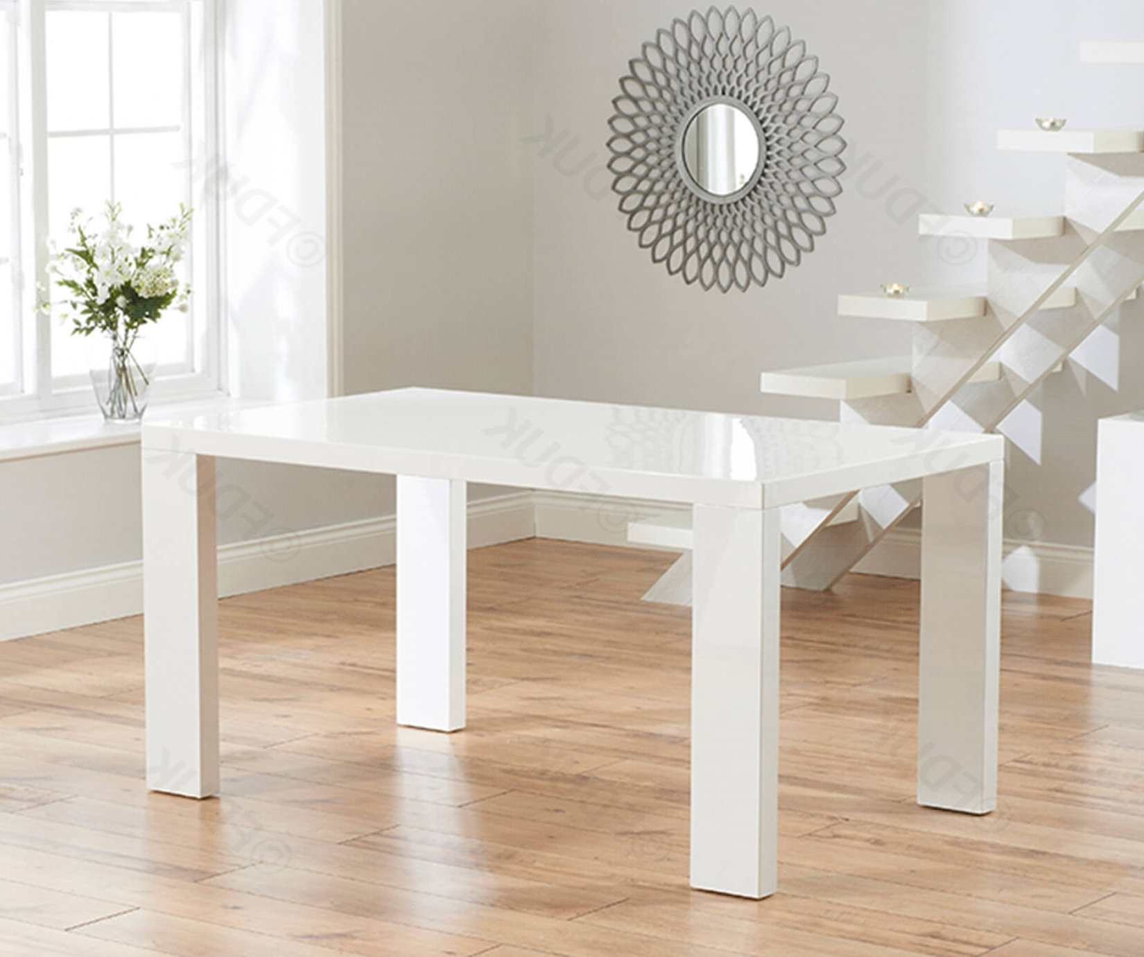 Metz 150Cm White High Gloss Dining Table Inside Latest White Gloss Dining Furniture (View 3 of 25)