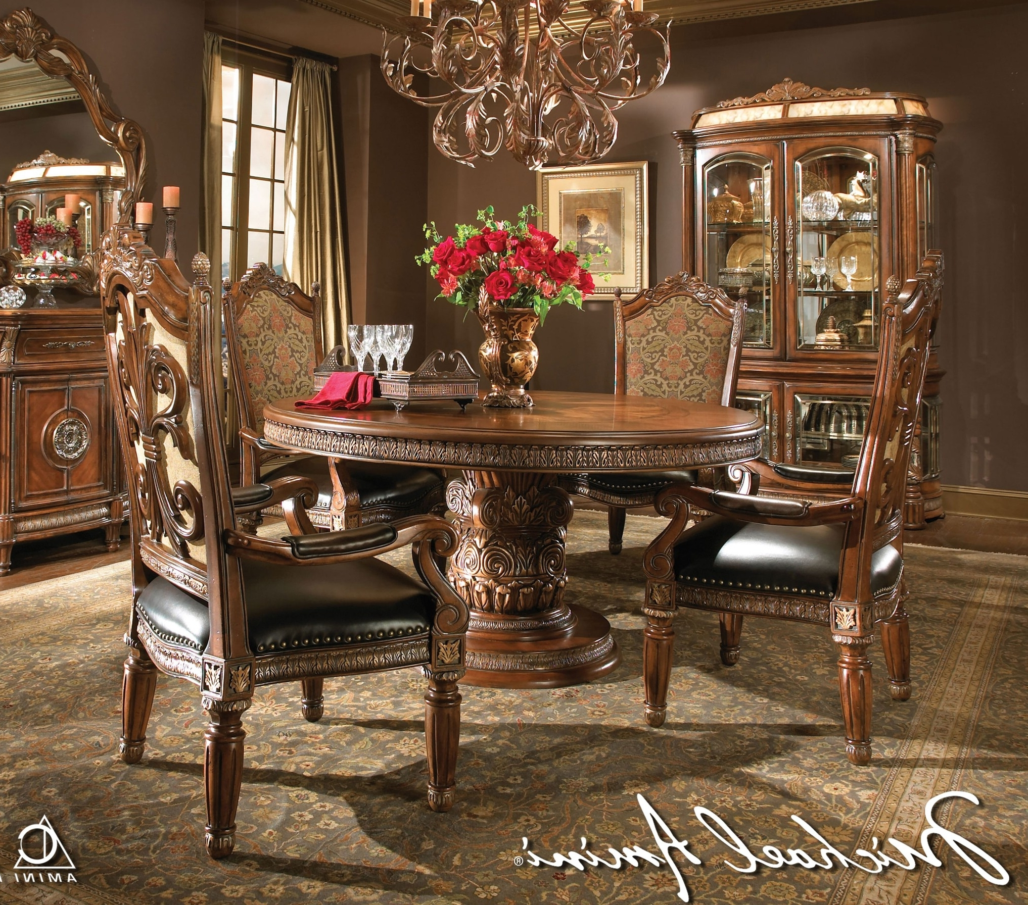 Michael Amini 5Pc Villa Valencia Round / Oval Dining Table Set & 4 Within Well Known Valencia 72 Inch 6 Piece Dining Sets (Gallery 11 of 25)