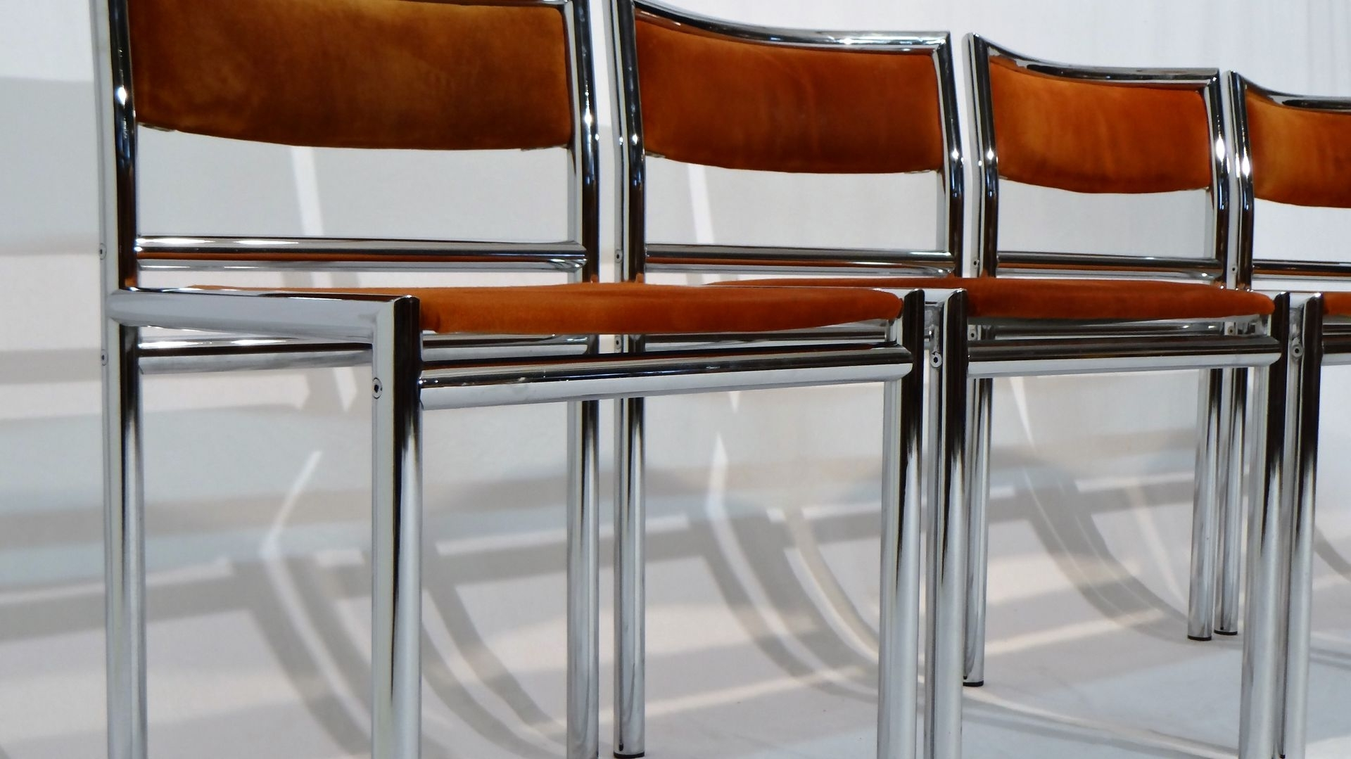 Mid Century Dining Chairs In Tubular Chrome And Leather, Set Of 4 Inside Famous Chrome Leather Dining Chairs (View 18 of 25)