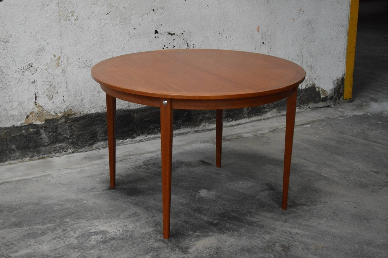 Mid Century Modern Round Swedish Teak Dining Table (View 8 of 25)
