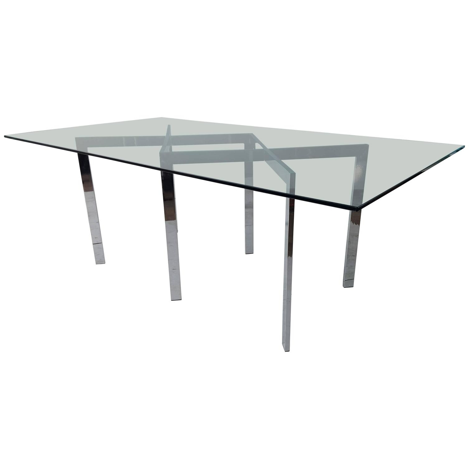 Milo Baughman, Thayer Coggin Chrome X Base And Glass Dining Table Inside Well Liked Chrome Glass Dining Tables (Gallery 11 of 25)