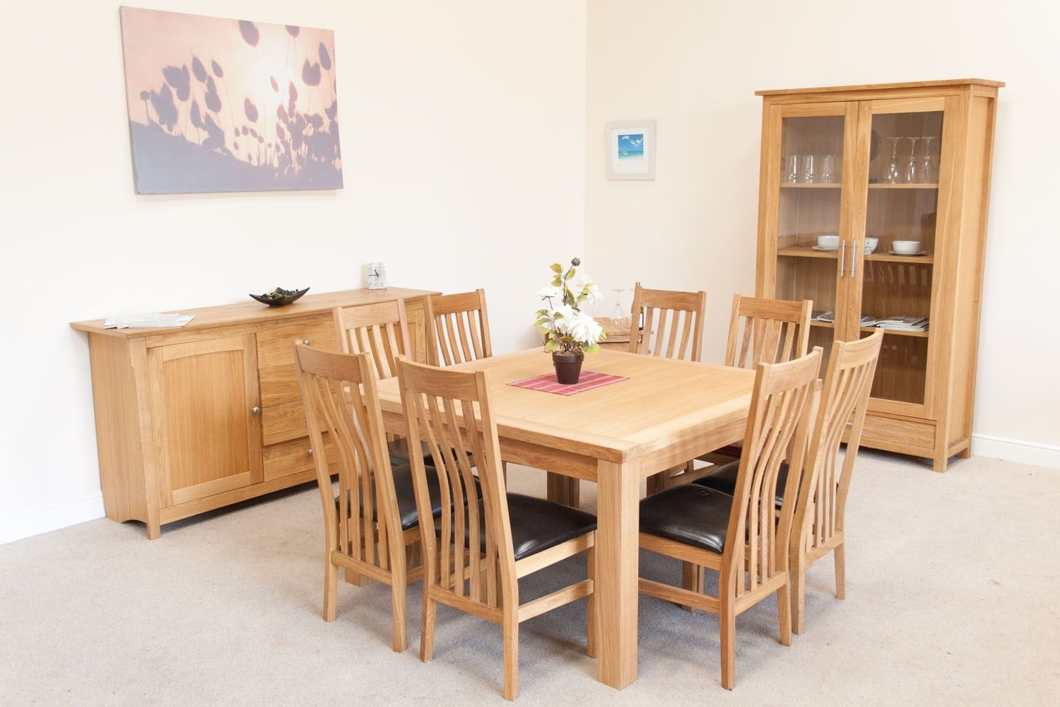 Minsk Large Square Oak Dining Table 8 Seater Pertaining To Newest Oak Dining Tables And 8 Chairs (View 3 of 25)