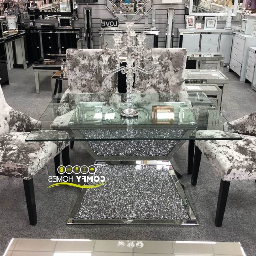 Mirrored Crushed Crystal Dining Table (Milano) Within Widely Used Crystal Dining Tables (View 18 of 25)