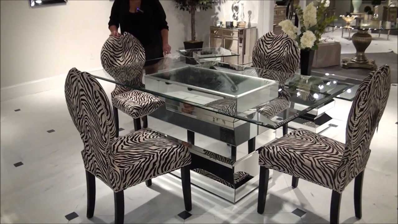 Mirrored Dining Tables With Regard To 2017 Paparazzo Mirrored Dining Table With Zebra Chairsbassett Mirror (View 13 of 25)