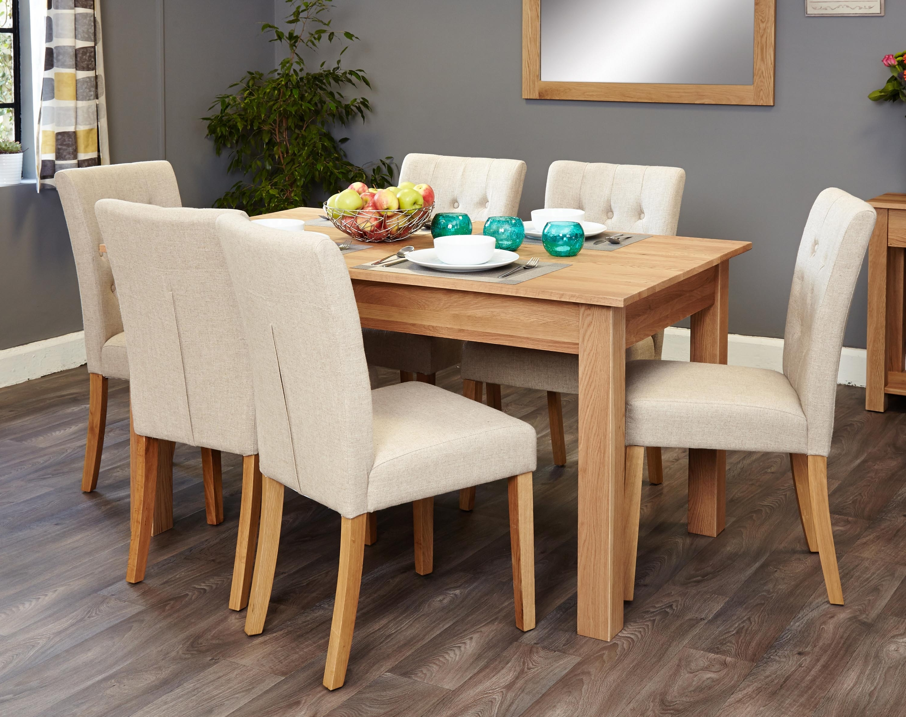 Mobel Oak 6 Seater Dining Table Set (Biscuit Flare Back) (Socor04B For Trendy Oak 6 Seater Dining Tables (View 8 of 25)