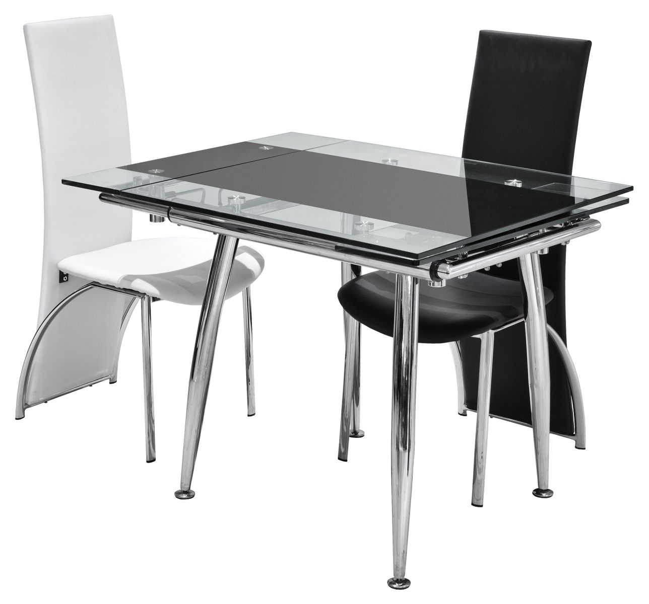 Modern Black And White Melamine Dining Table Using Silver Metal In Latest Black Folding Dining Tables And Chairs (View 14 of 25)