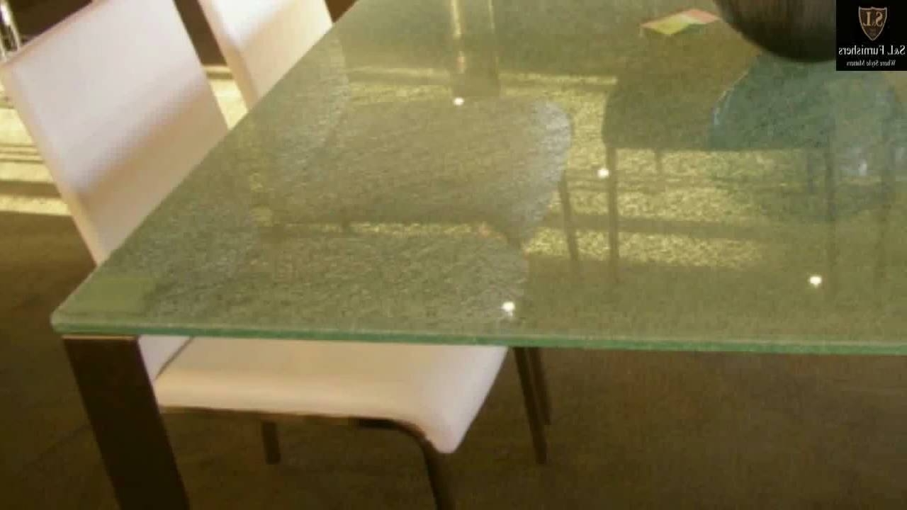 Modern Cracked Glass Table With Stainless Steel – Youtube For Popular Vogue Dining Tables (View 6 of 25)
