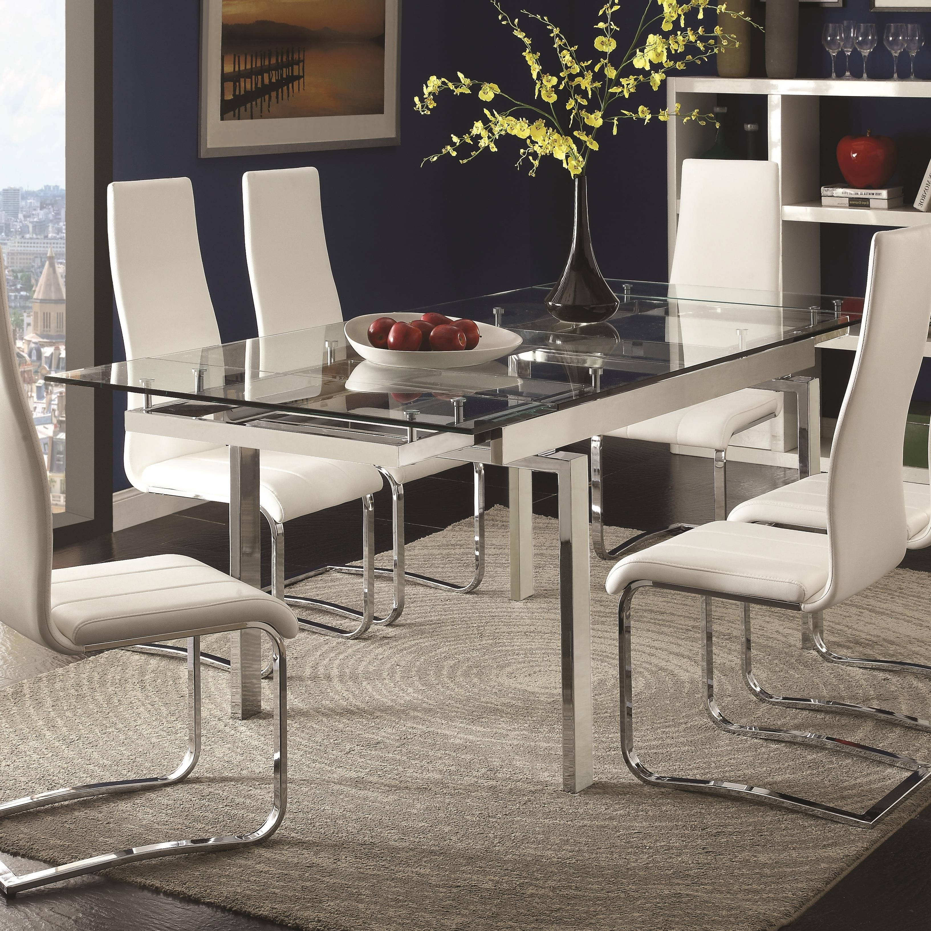 Modern Dining Room Furniture Intended For Best And Newest Coaster Modern Dining Contemporary Glass Dining Table With Leaves (View 14 of 25)