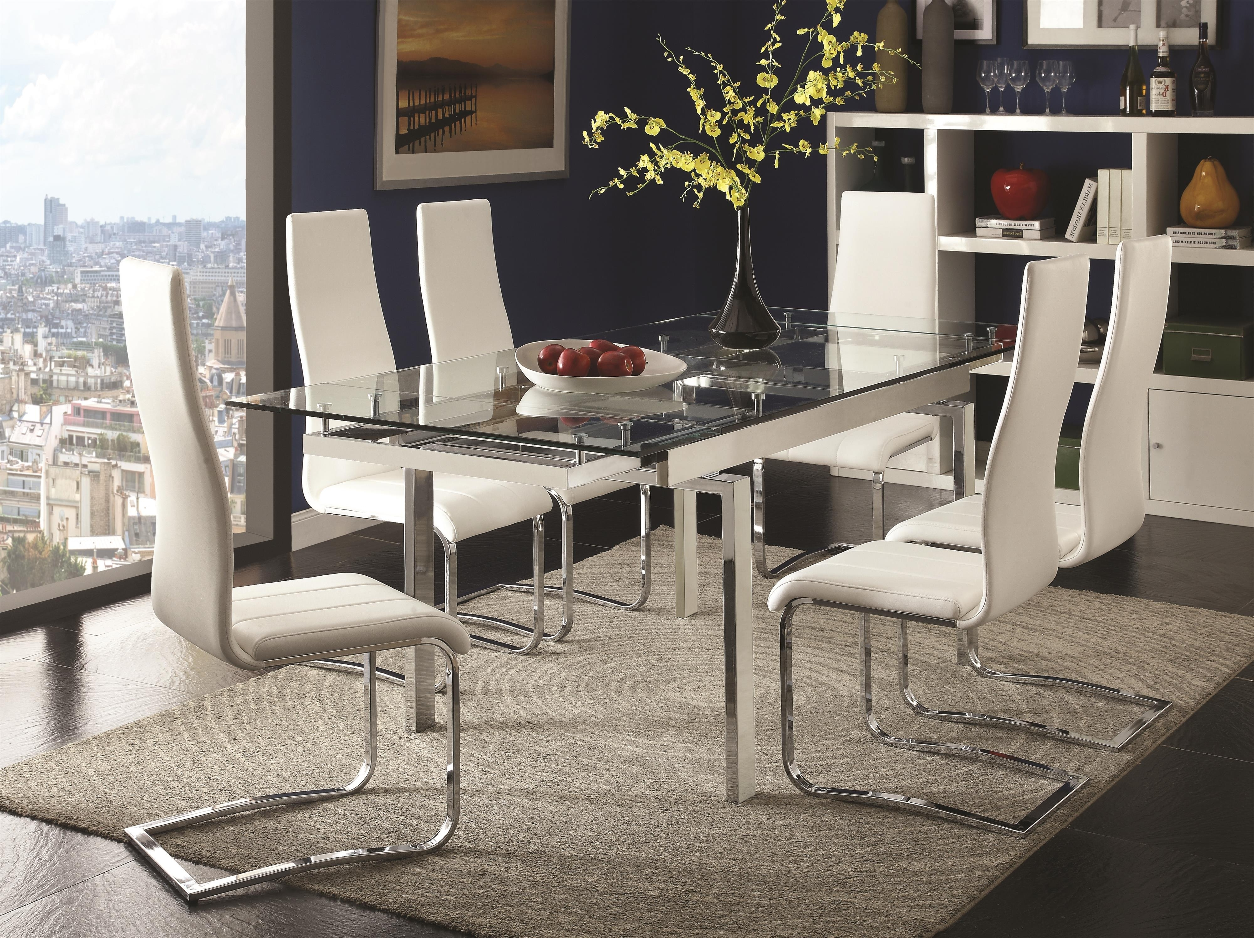 Modern Dining Room Sets With Preferred Coaster Modern Dining Contemporary Dining Room Set With Glass Table (View 11 of 25)