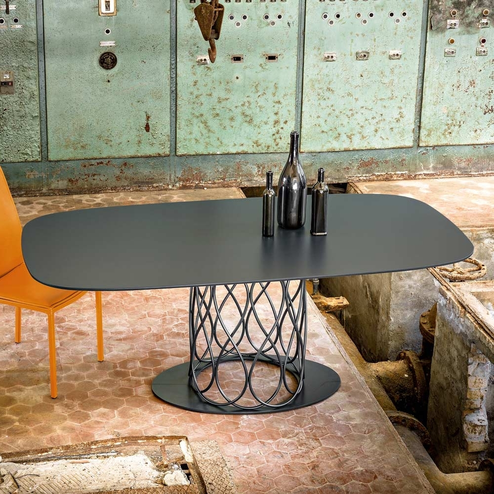Modern Dining Table Made Of Grey Laquered Mdf 100X200 Cm Nora For Fashionable Nora Dining Tables (View 7 of 25)