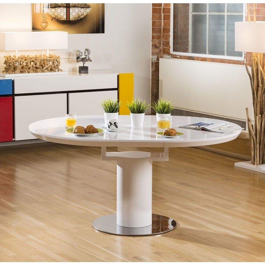 Modern Dining Table White Gloss Round / Oval Extending 1200 1600Mm With Regard To Widely Used White Gloss Extendable Dining Tables (View 18 of 25)