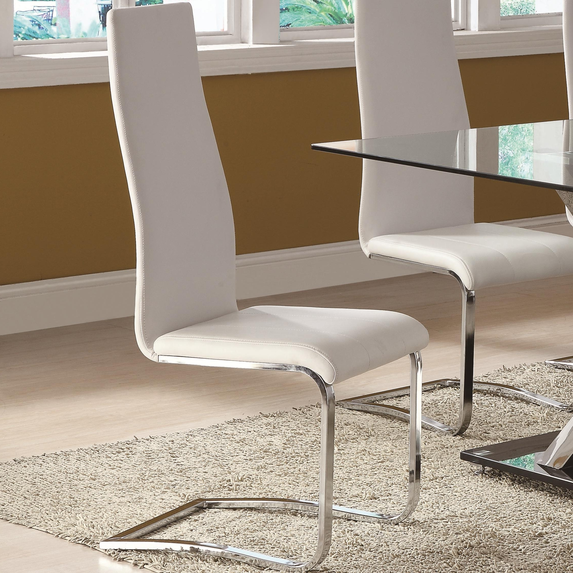 Modern Dining White Faux Leather Dining Chair With Chrome Legs With Recent White Leather Dining Chairs (View 11 of 25)