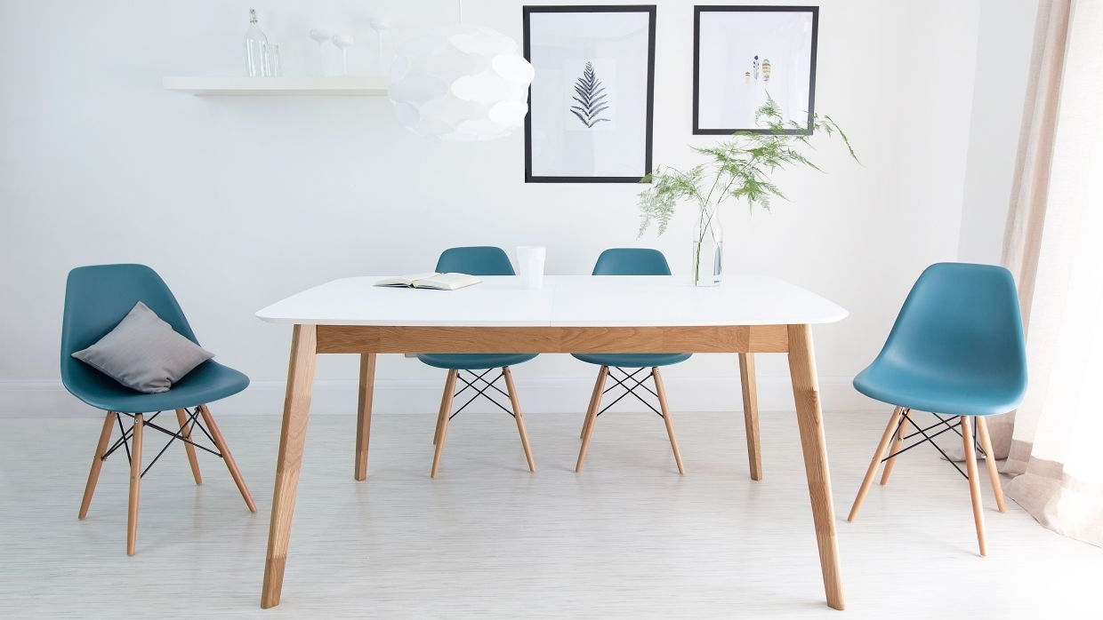 Modern Eames Dining Set  The Eames Dining Chairs Look Great With The In Best And Newest Palazzo 7 Piece Dining Sets With Pearson White Side Chairs (View 16 of 25)